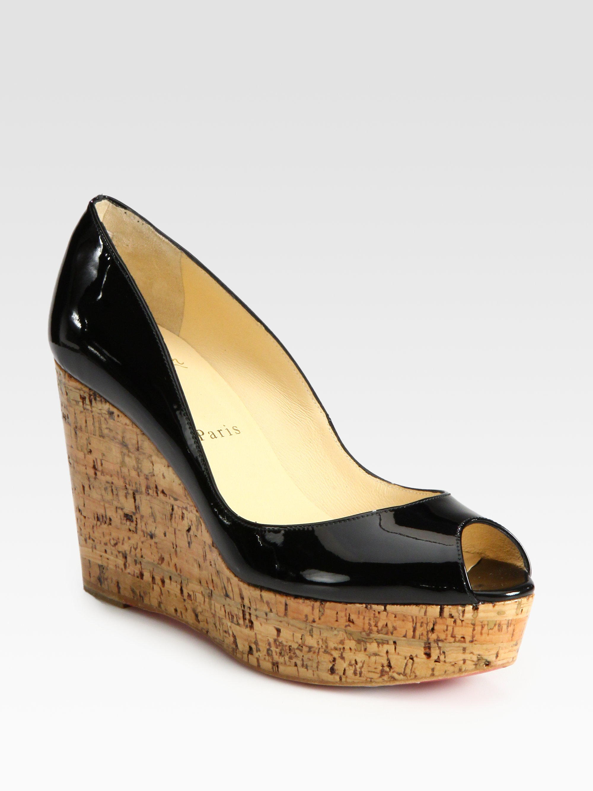 86f7a5465f30 ... get lyst christian louboutin patent leather cork wedge pumps in black  e2b7b 4832c