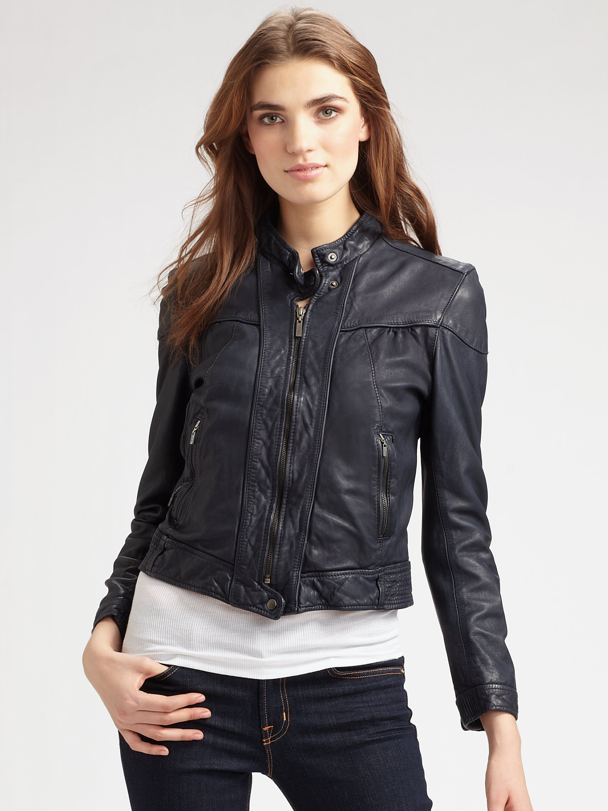 Lyst Cole Haan Washed Leather Jacket In Blue