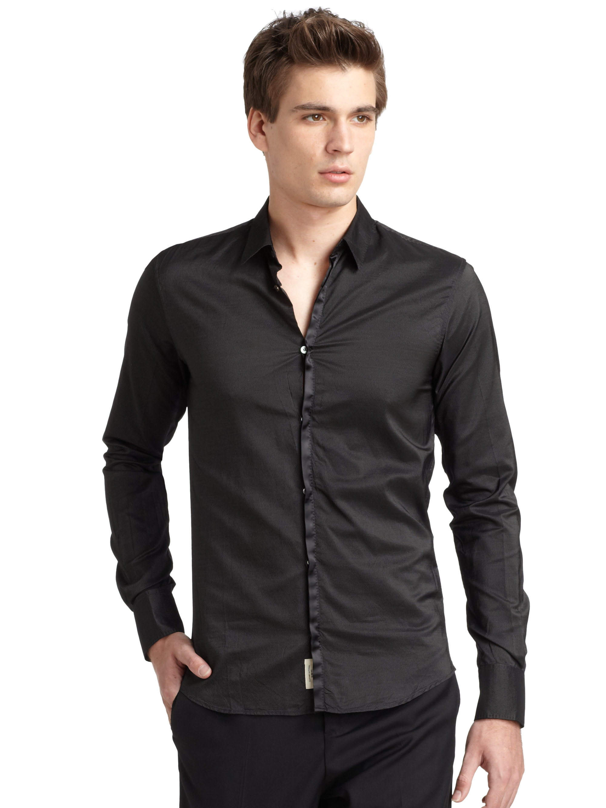 Costume national Slim Fit Silk Placket Button Down Shirt in Black ...