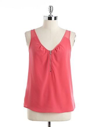 DKNY Sleeveless Top with Exposed Zipper Detail - Lyst