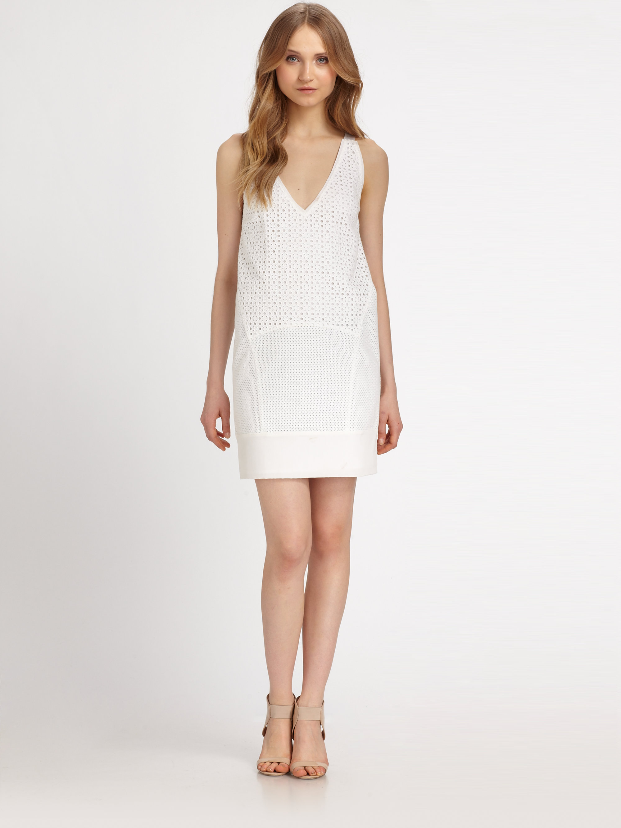 Lyst Dkny Cotton Eyelet Chemise Dress In White