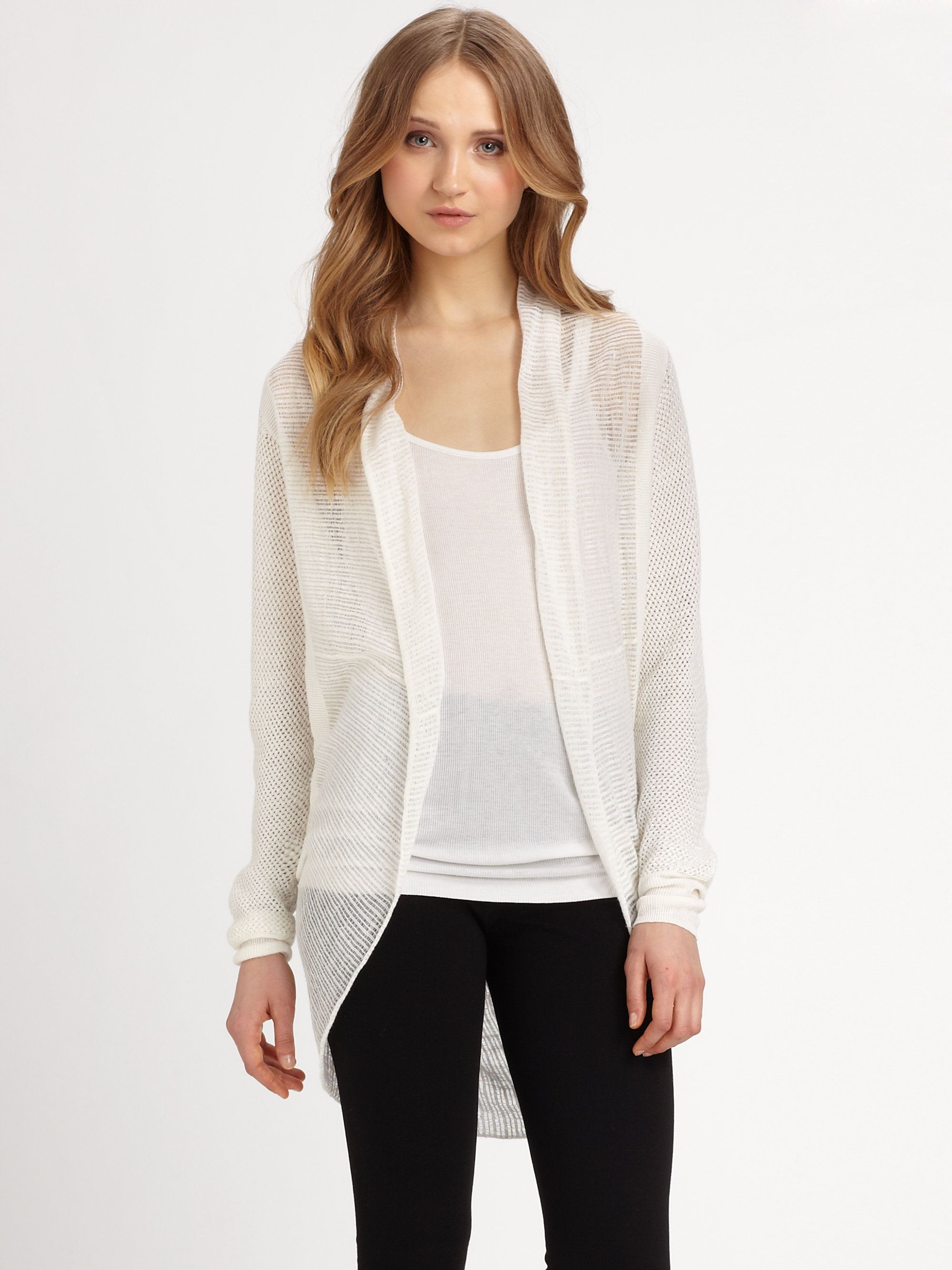 Dkny Linen Cardigan Sweater in White | Lyst