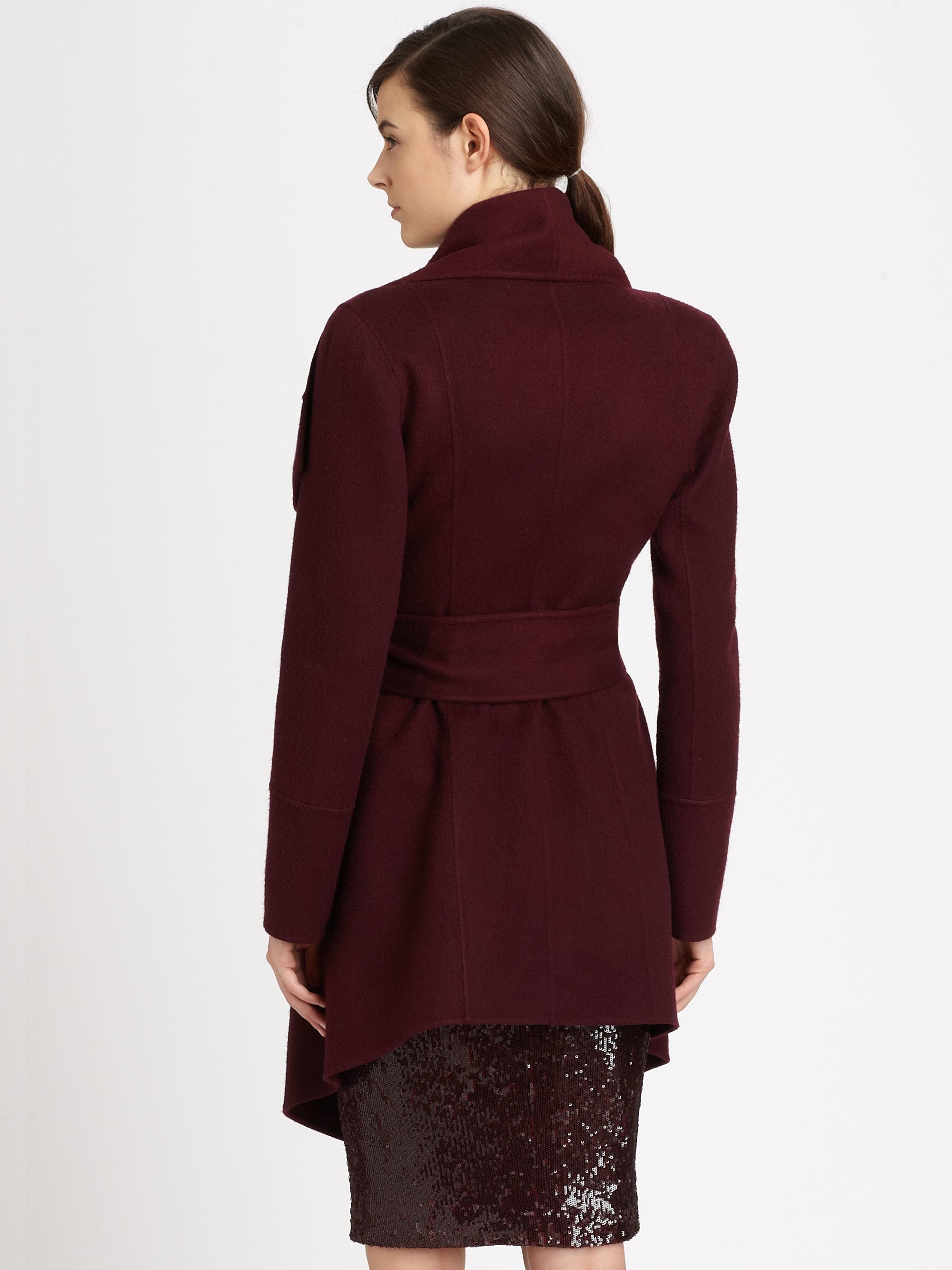 donna karan draped cashmere coat in red lyst. Black Bedroom Furniture Sets. Home Design Ideas