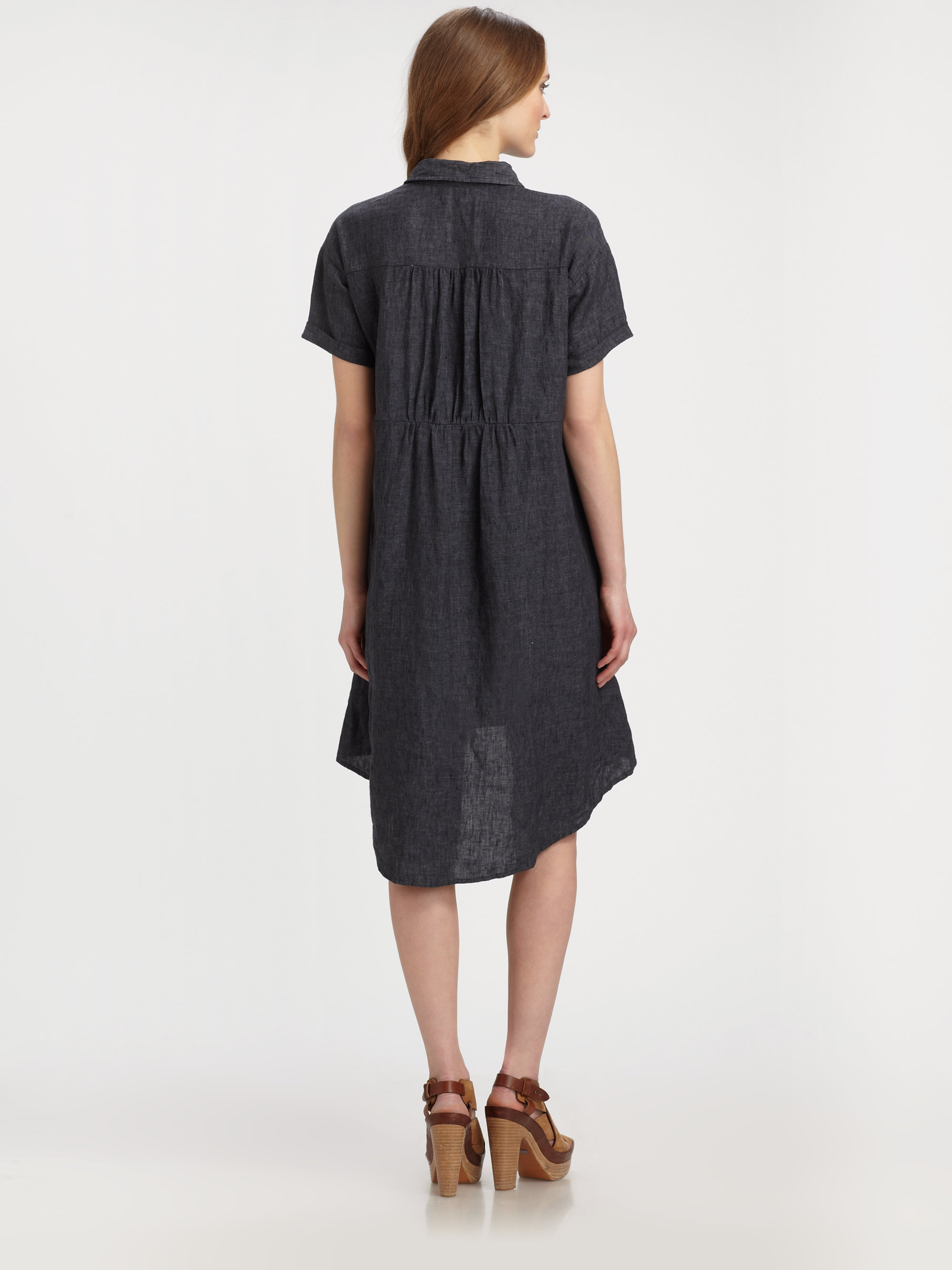045c430bcc Eileen Fisher Linen Hilo Shirtdress in Black - Lyst