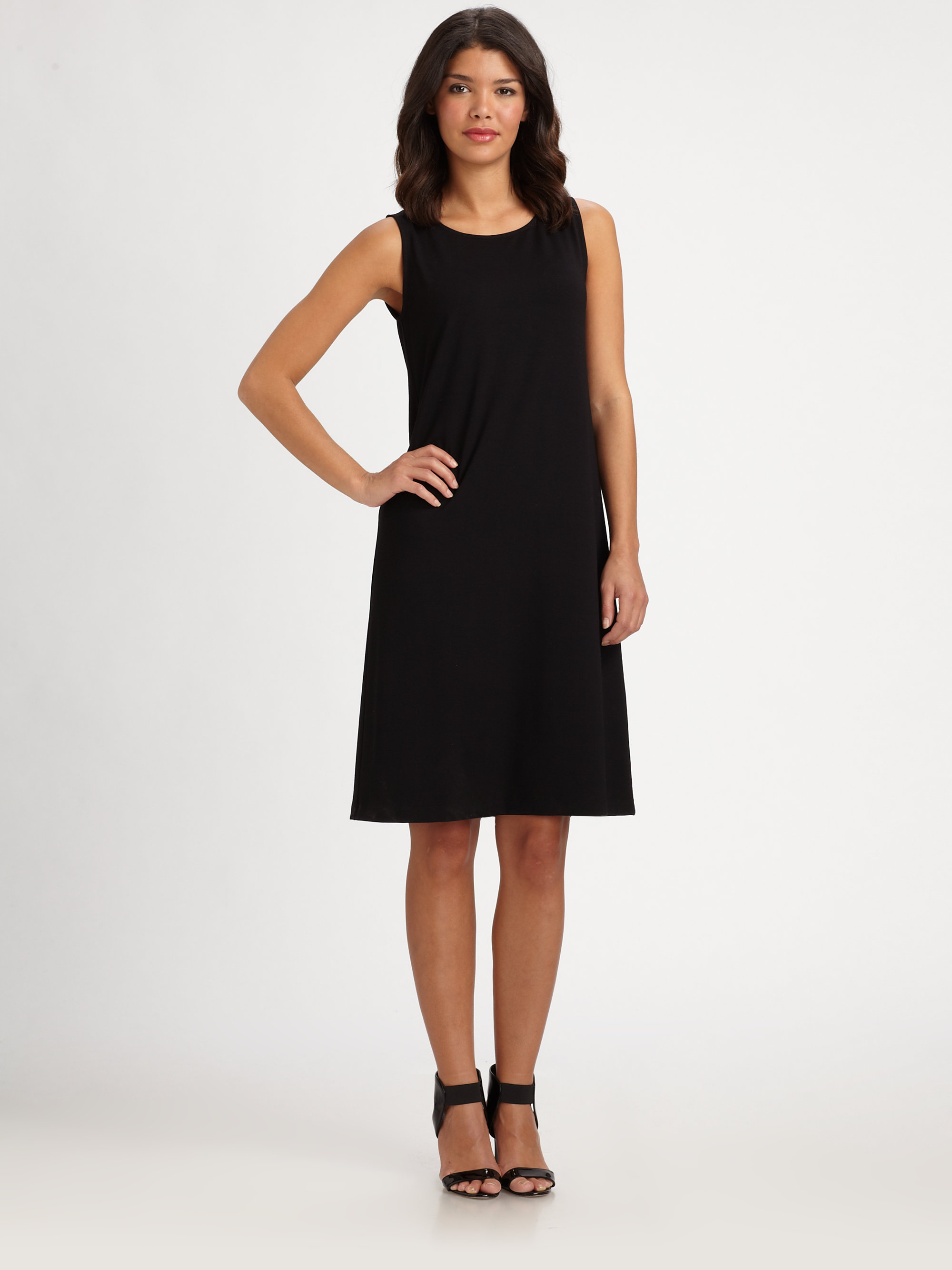 Eileen fisher Sleeveless Jersey Shift Dress in Black | Lyst