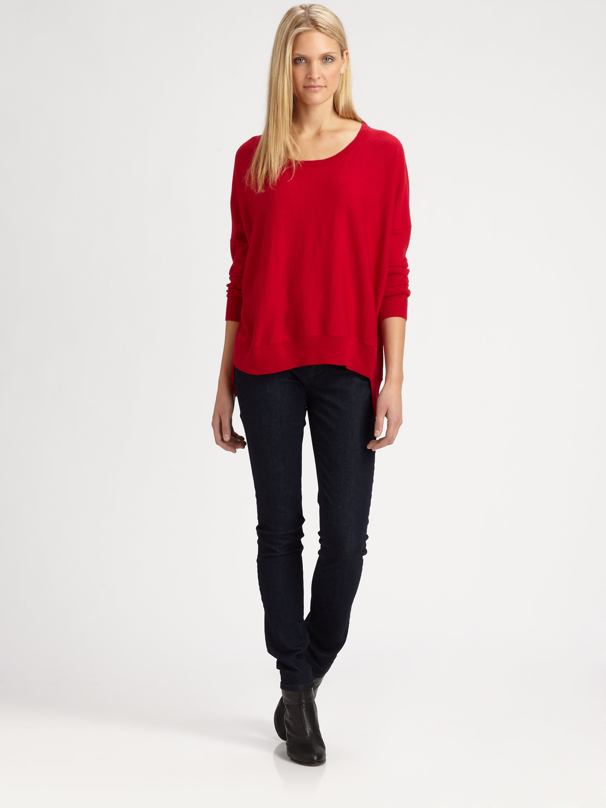 Eileen fisher Merino Wool Sweater in Red | Lyst