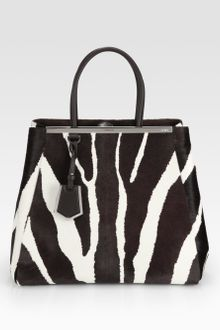 Fendi 2jours Large Zebraprinted Calf Hair Shopper - Lyst