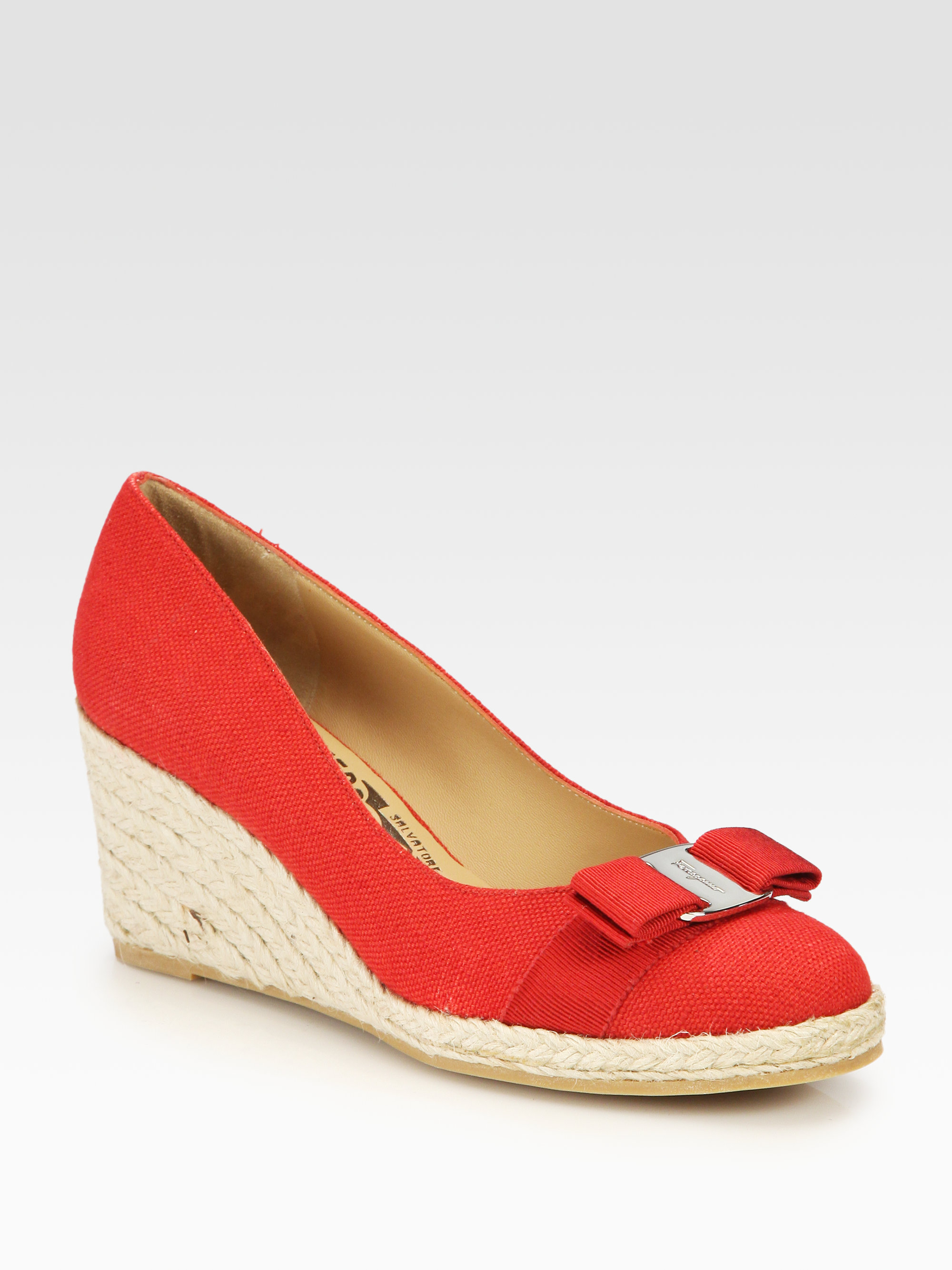 Salvatore Ferragamo Embroidered Canvas Wedges