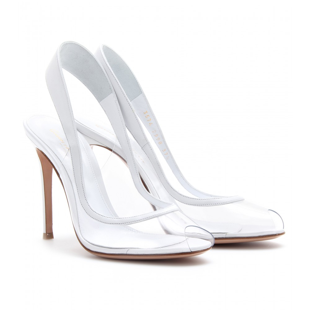 shoes wedding gowns gianvito rossi transparent peeptoe slingback