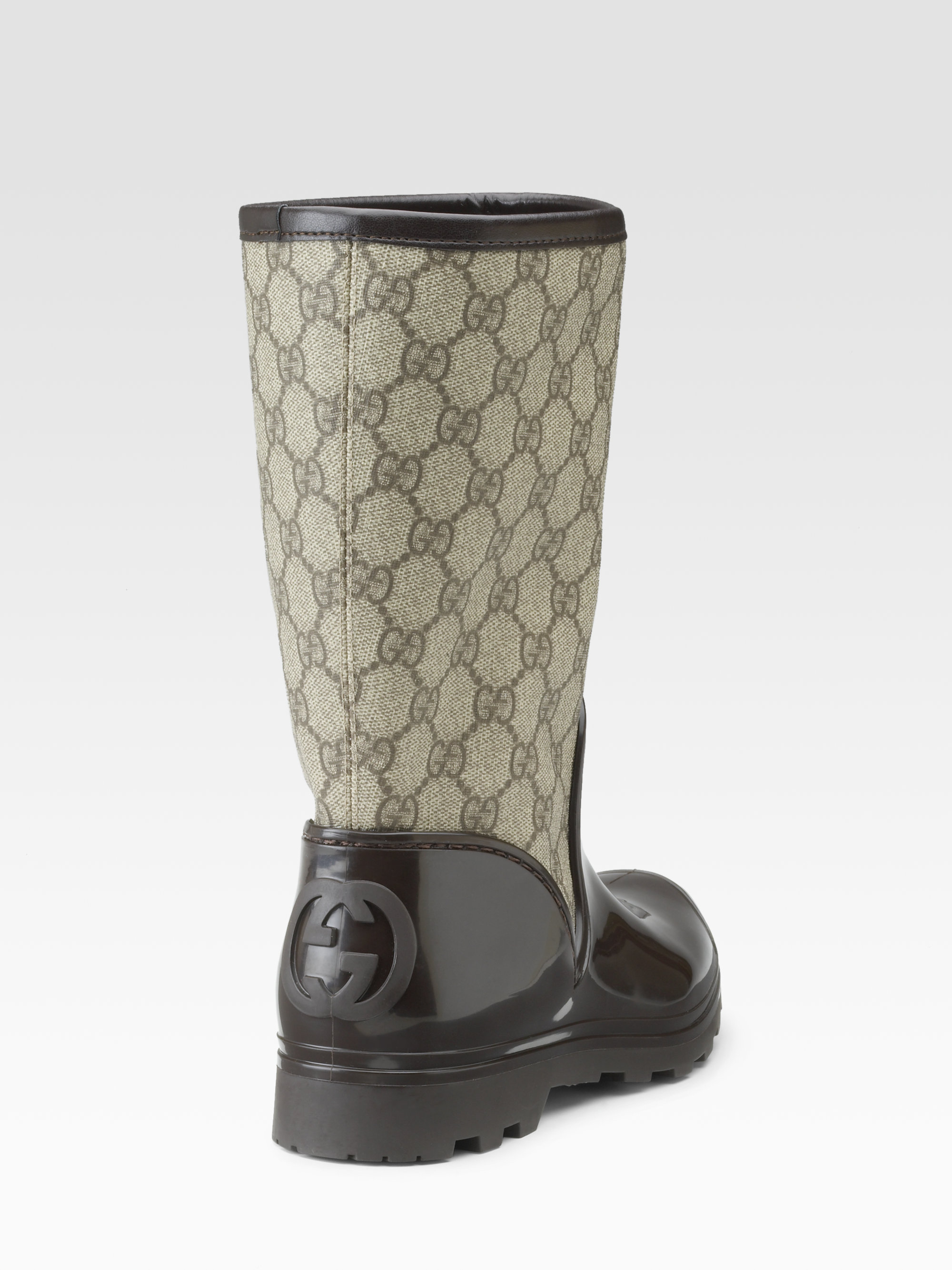 Gucci Prato Flat Rainboots in Brown | Lyst