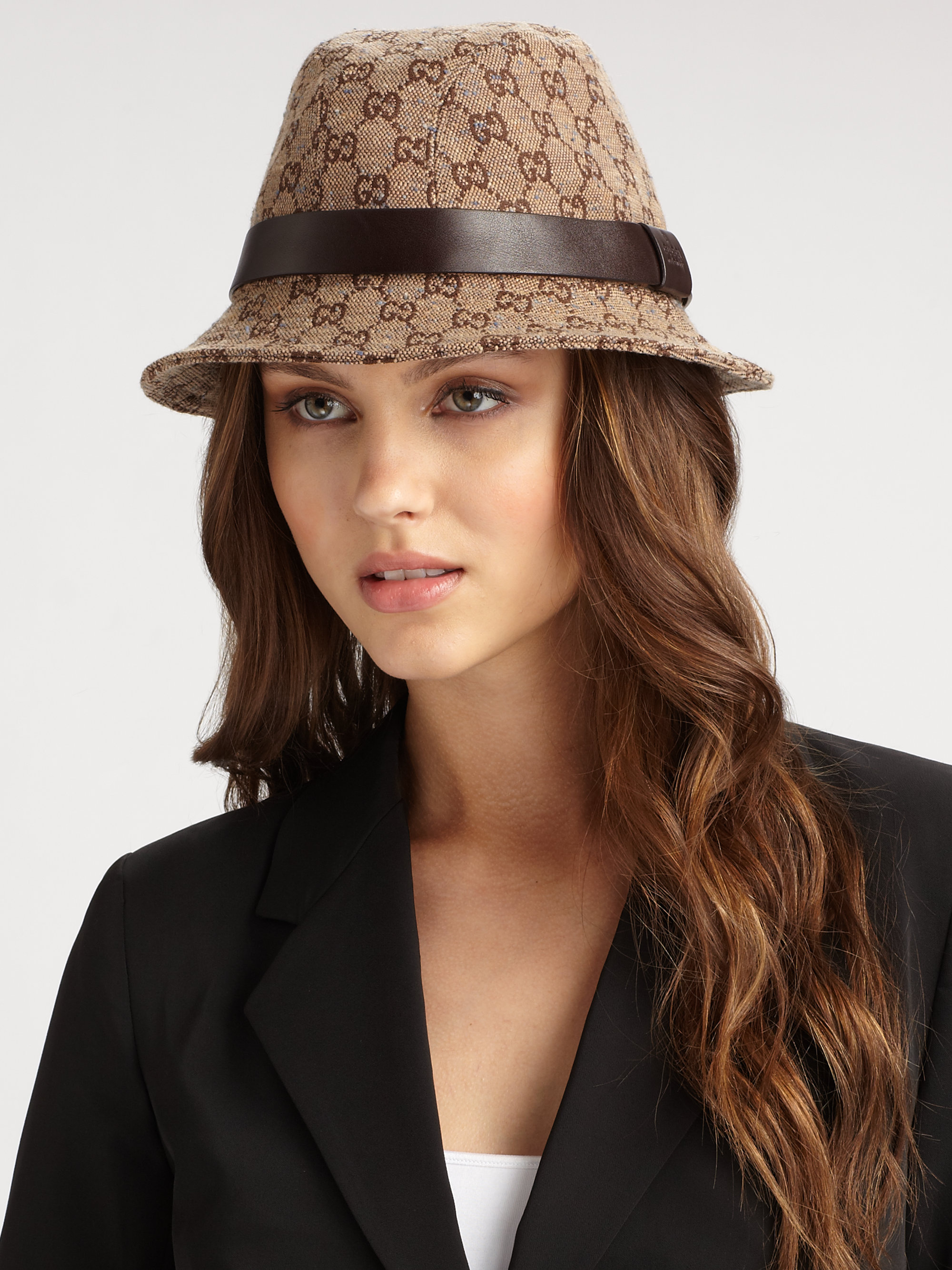 4d6858509cc Lyst - Gucci Gg Fedora Hat in Brown