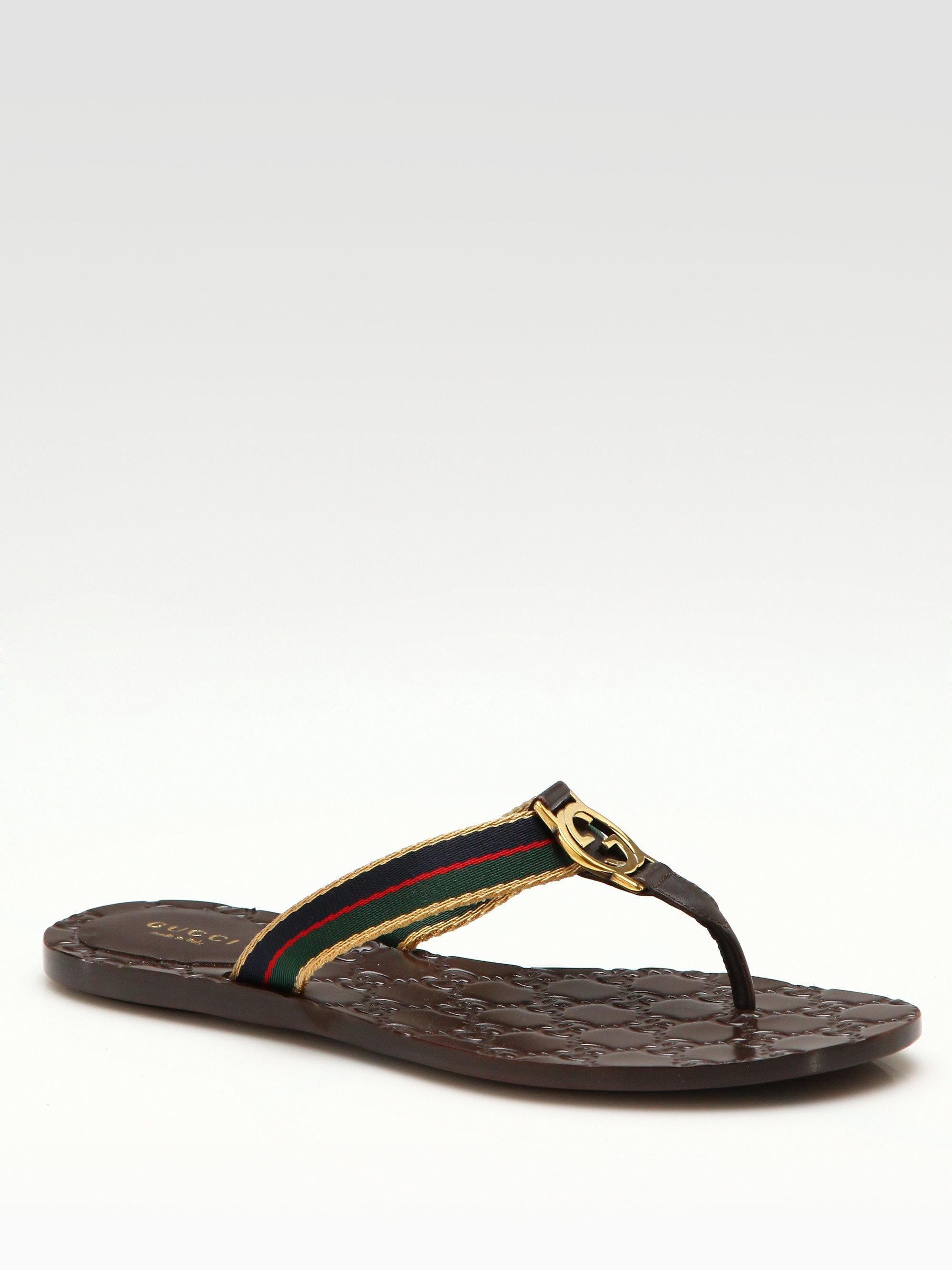 008cbf387e4 Lyst - Gucci Gg Thong Sandals in Brown