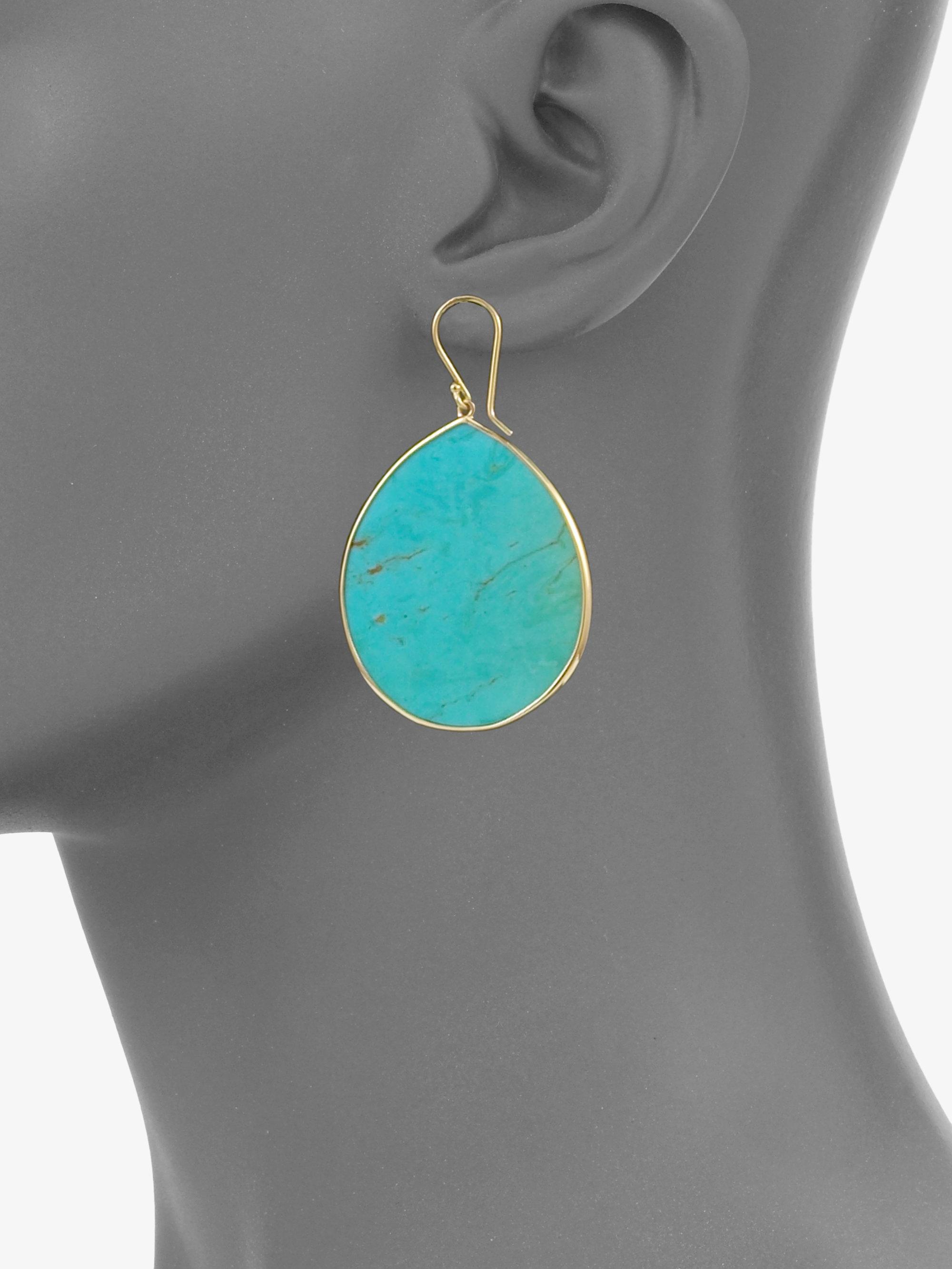 Very Lyst - Ippolita Turquoise 18k Gold Large Teardrop Earrings in Blue TE79