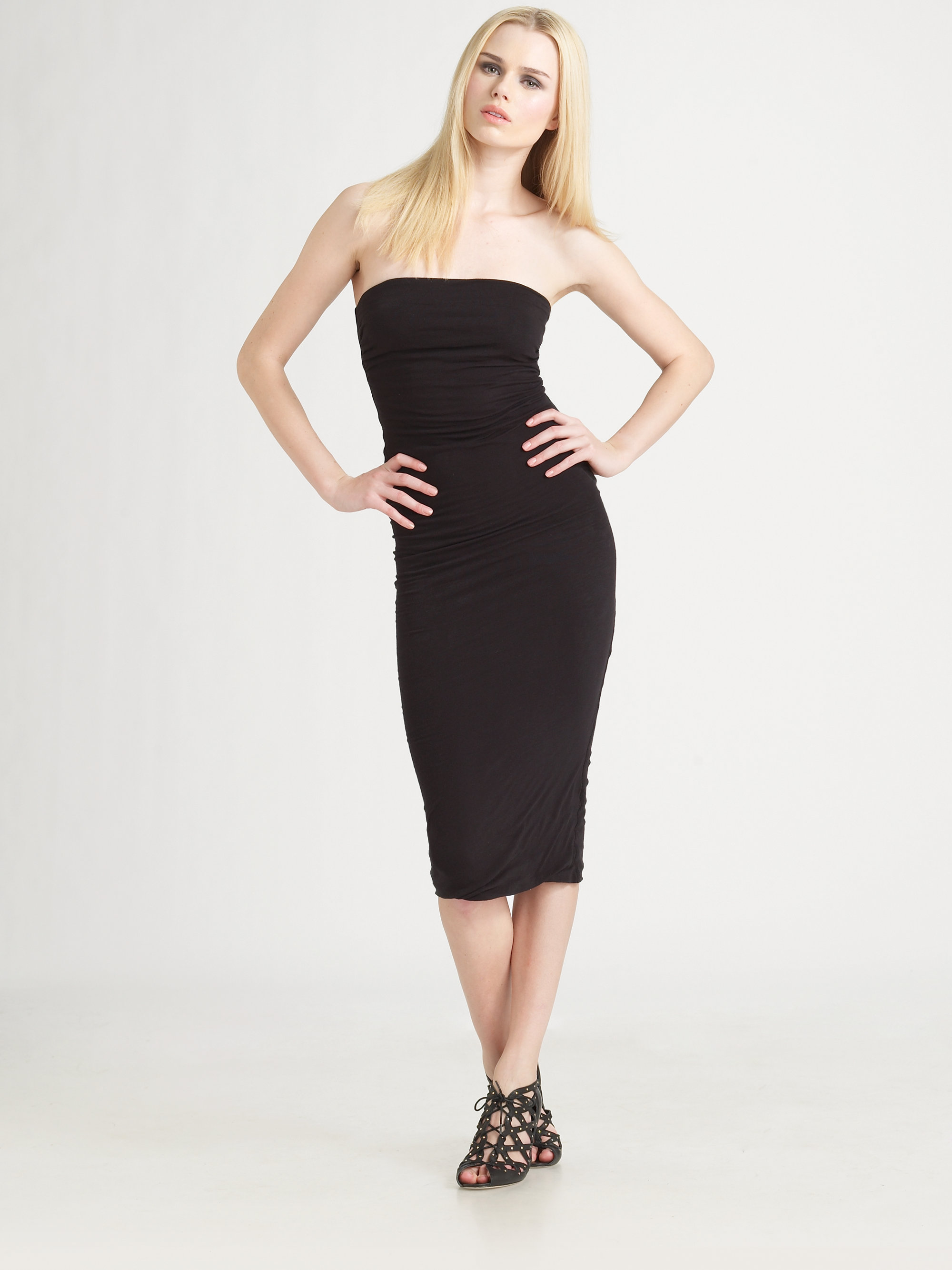 1641608eefab James Perse Strapless Jersey Tube Dress in Black - Lyst
