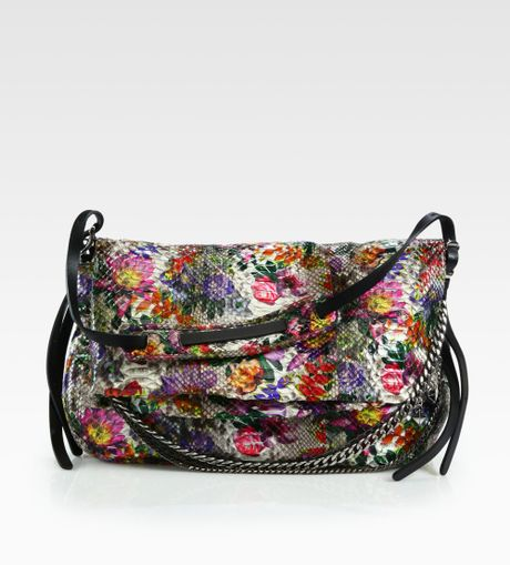 Jimmy Choo Floral Python Biker Shoulder Bag in  (multi)