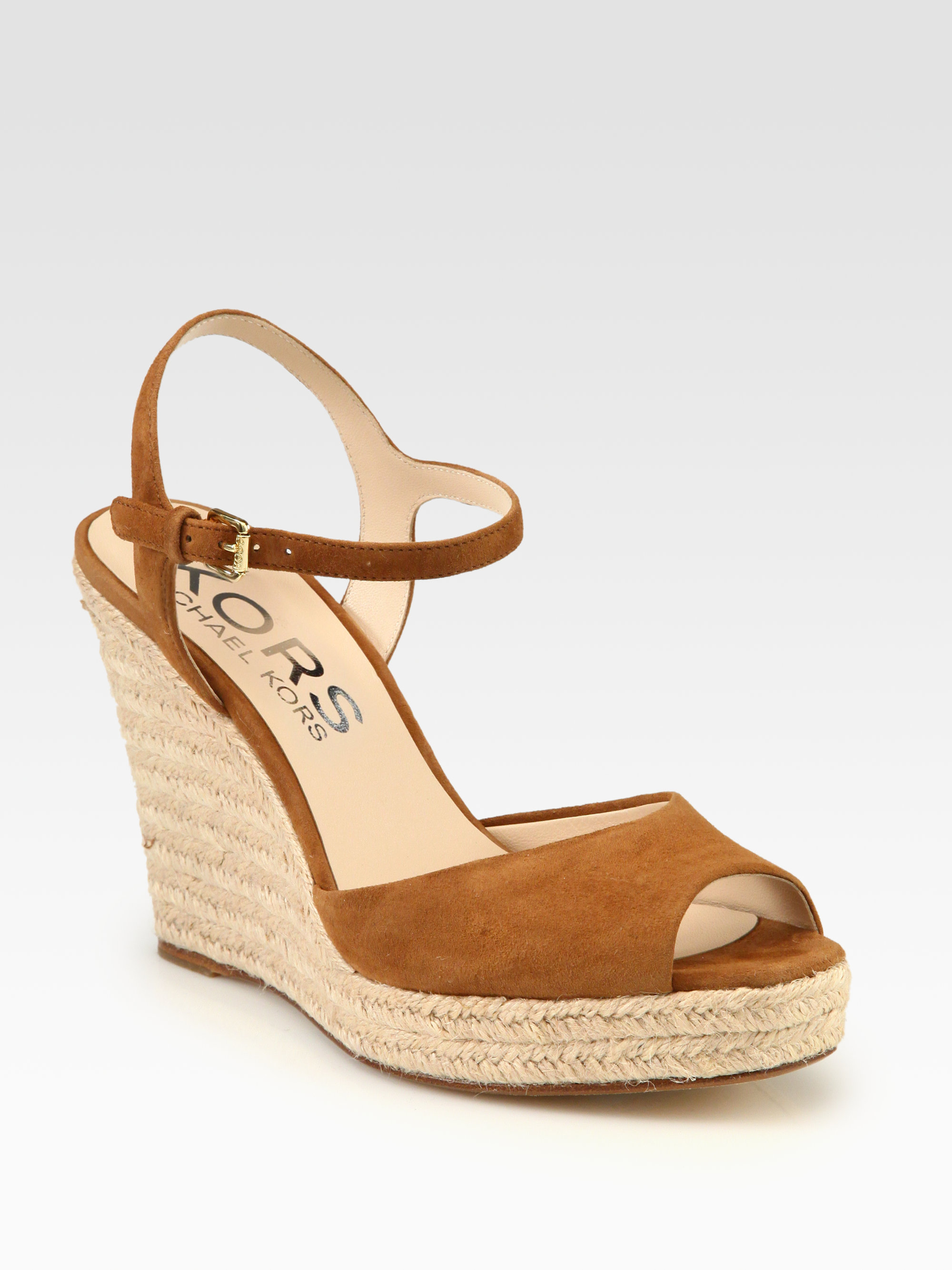 kors by michael kors valora suede espadrille wedge sandals in brown luggage lyst. Black Bedroom Furniture Sets. Home Design Ideas