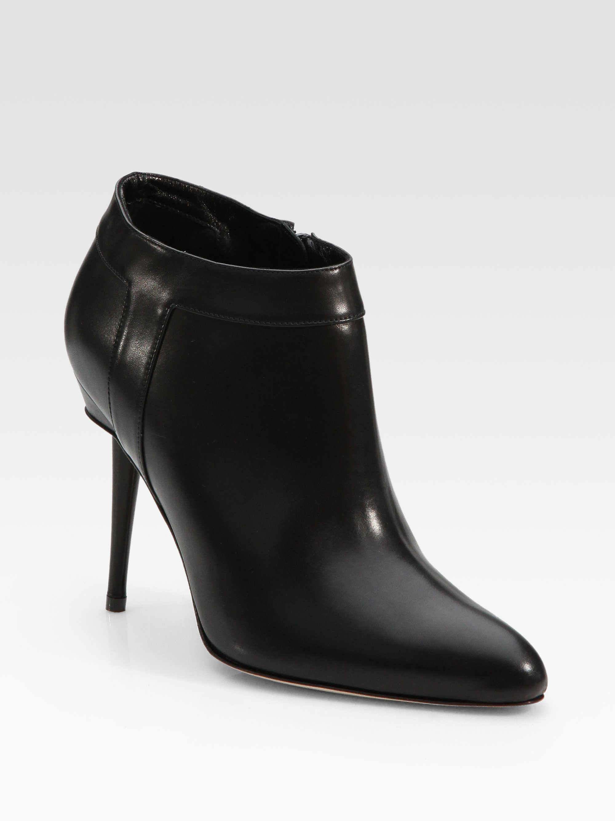 Manolo Blahnik Leather Sidezip Ankle Boots in Black | Lyst