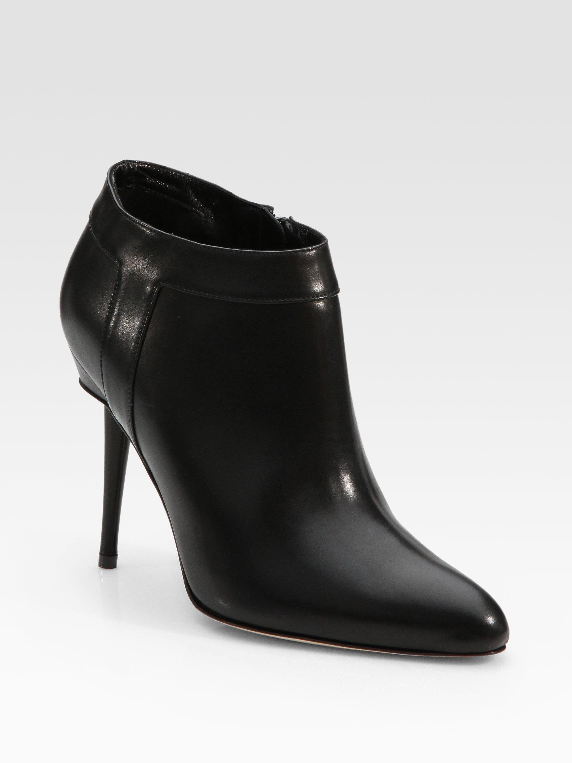 Manolo Blahnik Leather Sidezip Ankle Boots in Black   Lyst