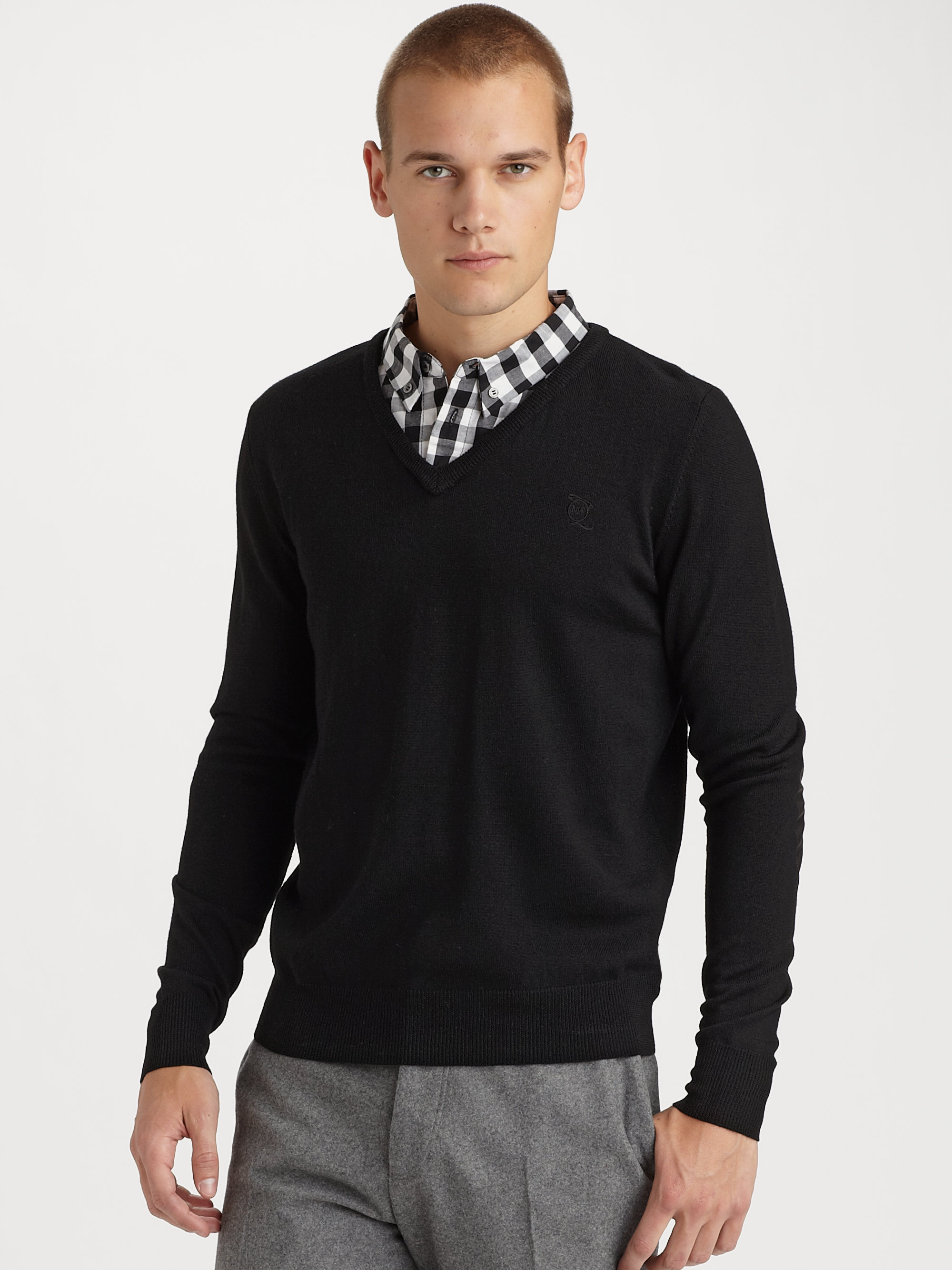 Black V Neck Sweaters