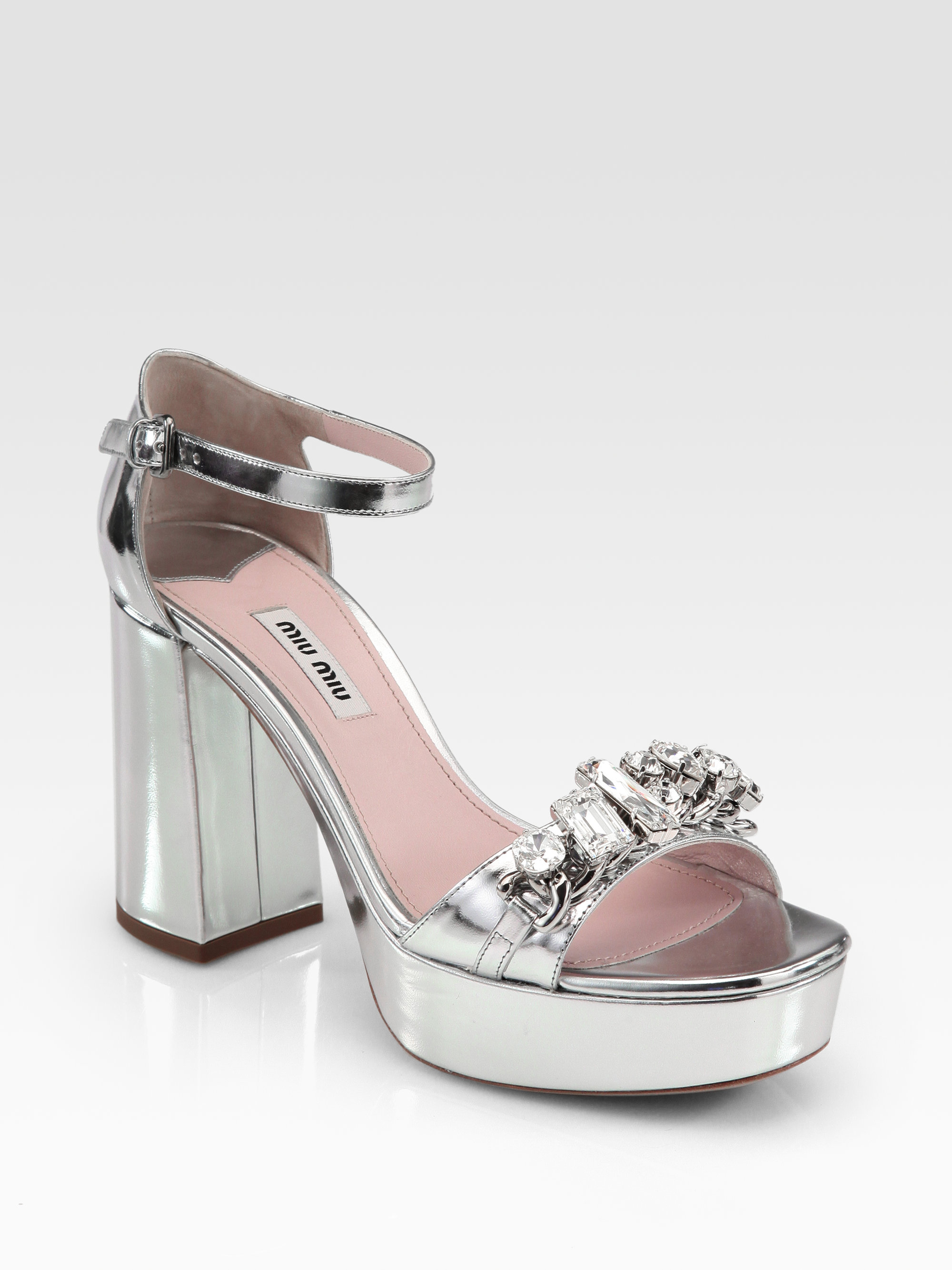 86216a4e192 Lyst - Miu Miu Metallic Leather Jeweled Platform Sandals in Gray
