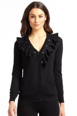 Moschino Cheap & Chic Wool Snapon Ruffletrimmed Cardigan - Lyst