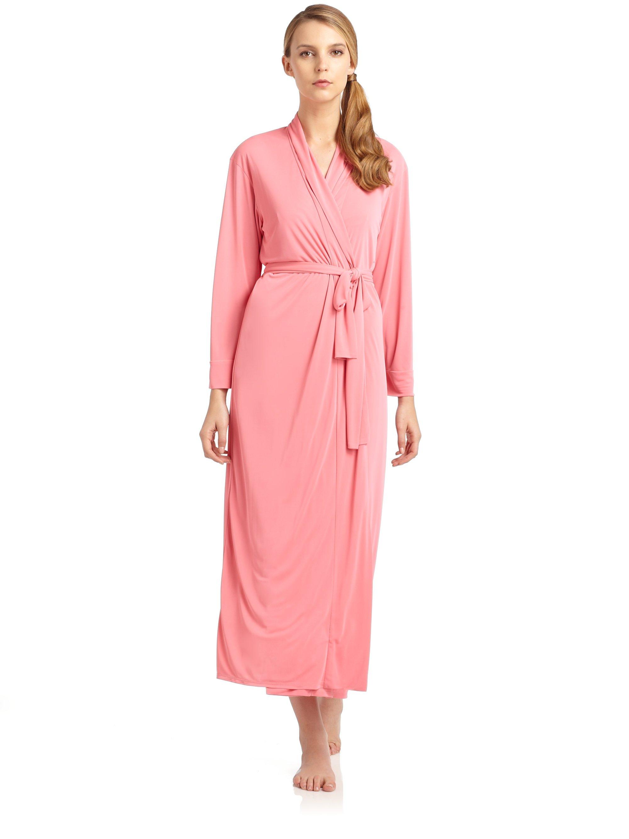 Natori aphrodite robe in pink salmon pink lyst for Robes de mariage de betsey johnson