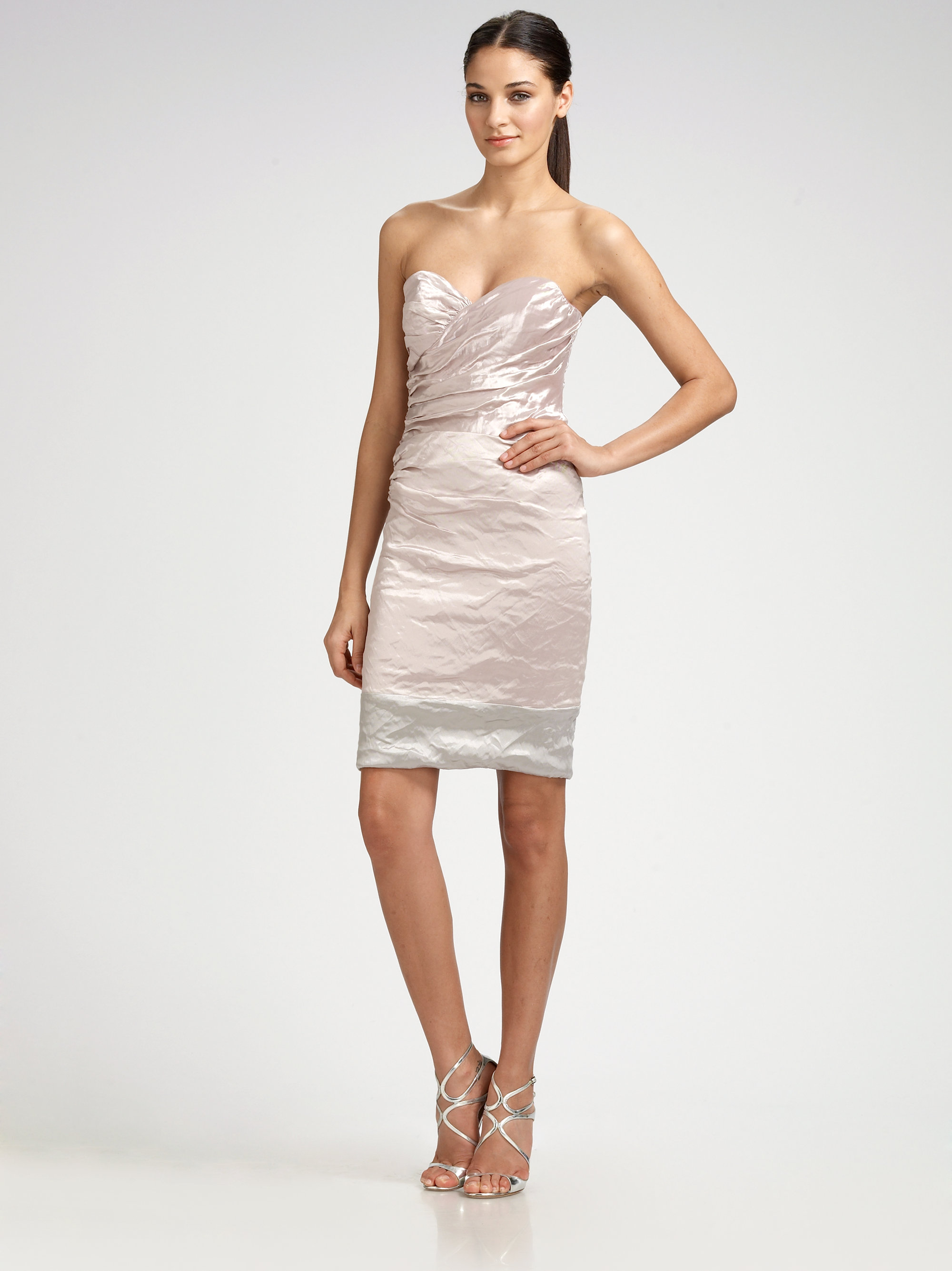 Nicole miller Ruched Strapless Dress in Brown | Lyst