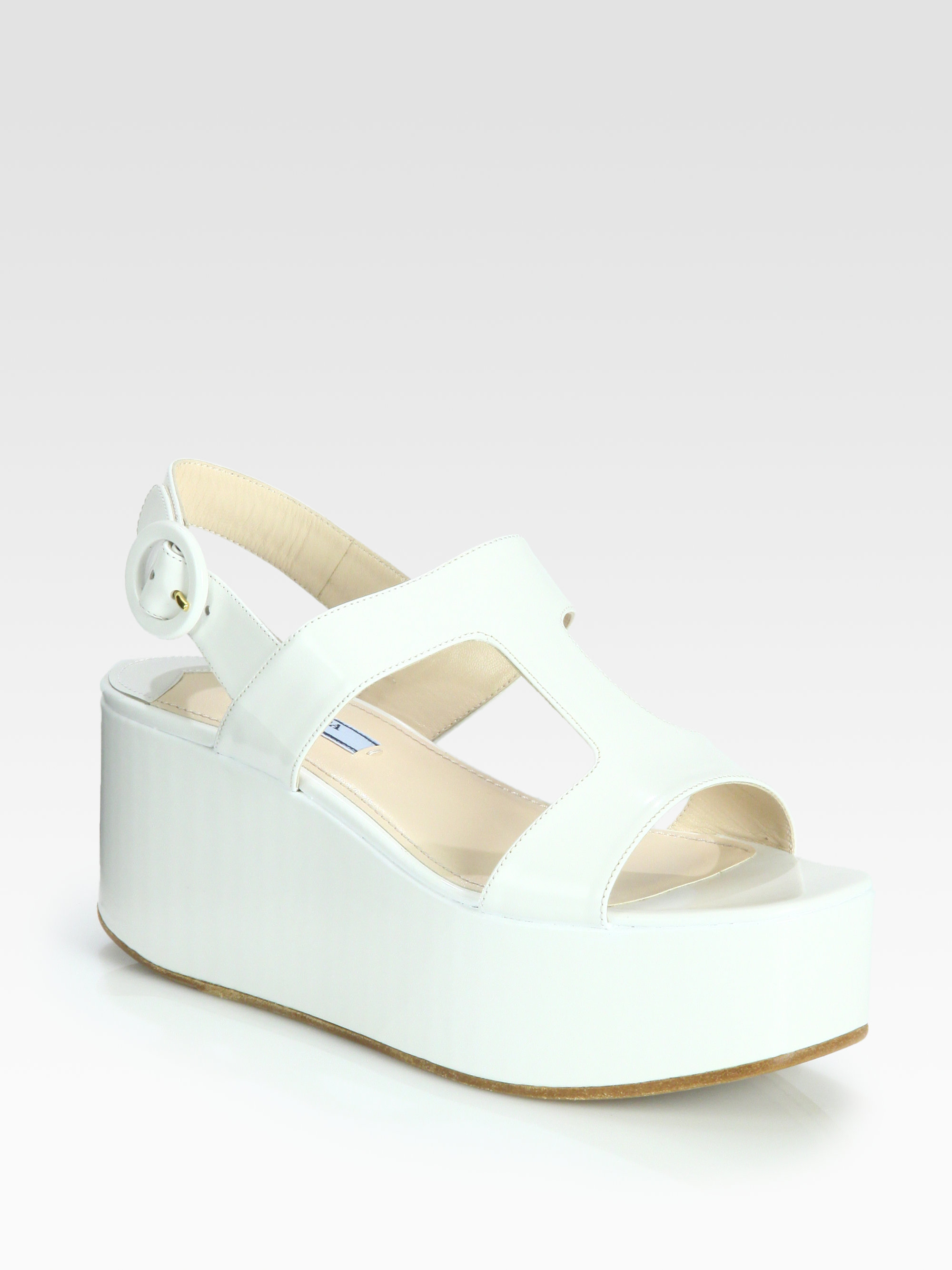 prada leather tstrap platform wedge sandals in white lyst
