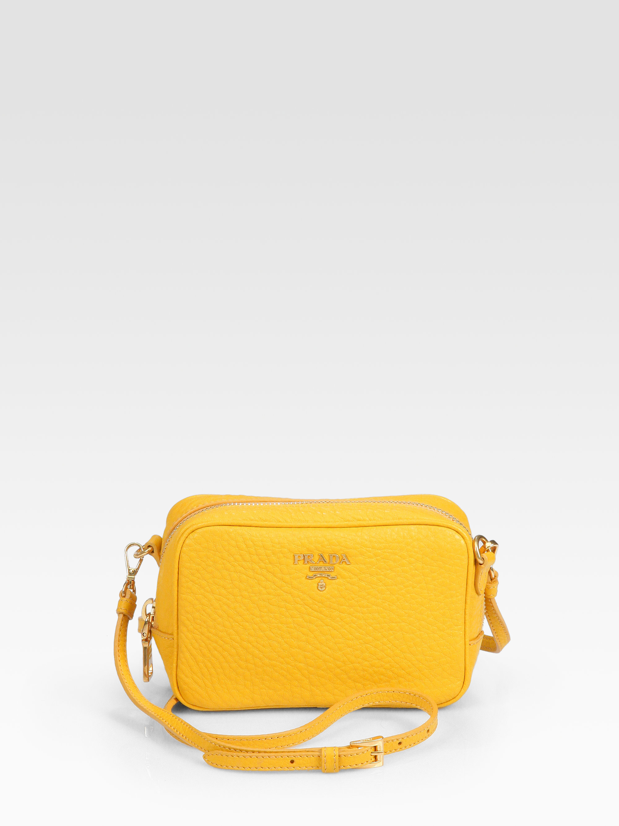 cf8d429c9f9d ... coupon code for lyst prada mini vitello daino crossbody bag in yellow  c8ca3 276de
