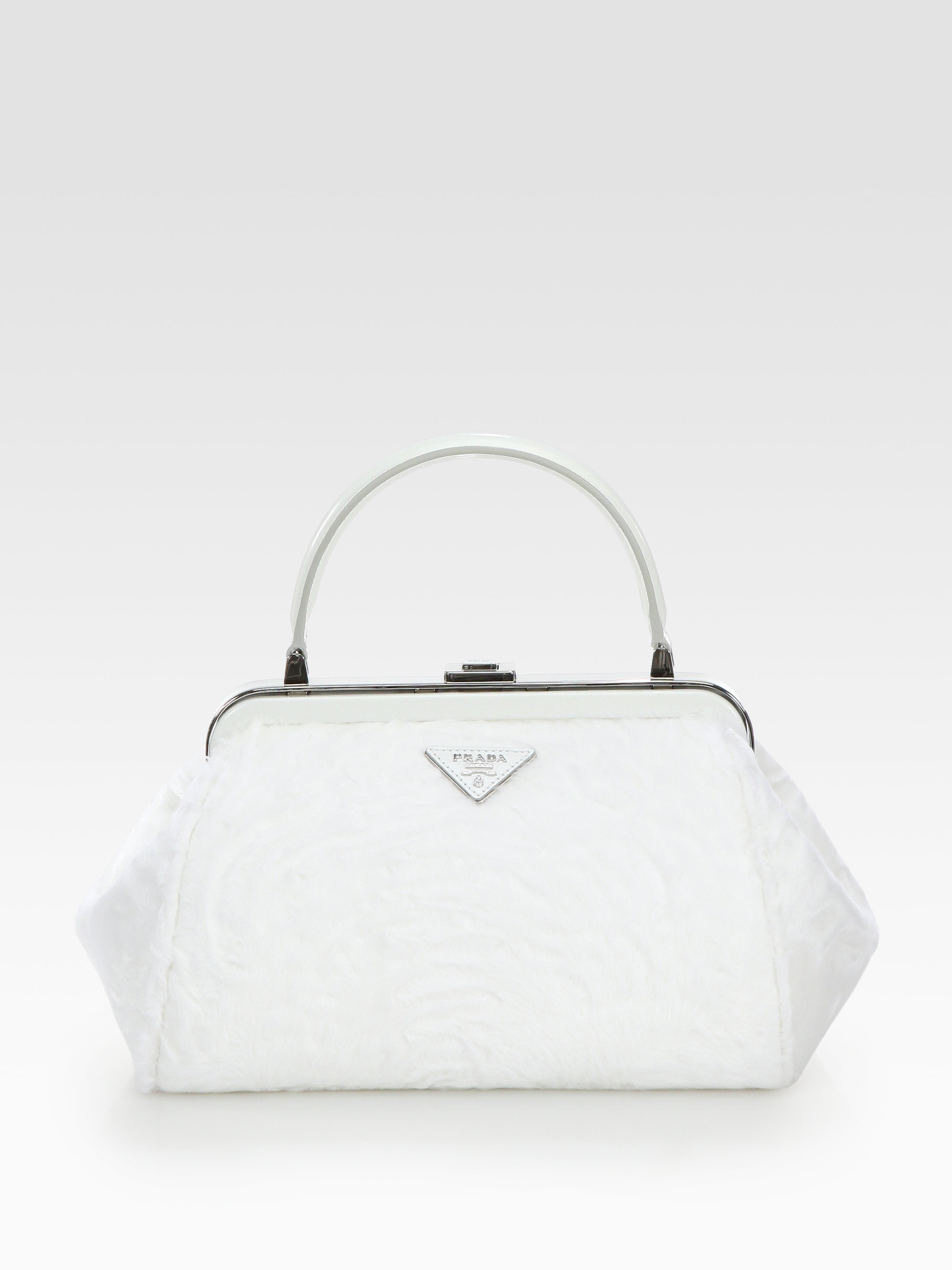 Prada Astrakhan Small Frame Bag in White | Lyst - prada frame bag black