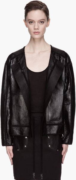Proenza Schouler Black Patent Perforated Leather Crocheted Jacket - Lyst