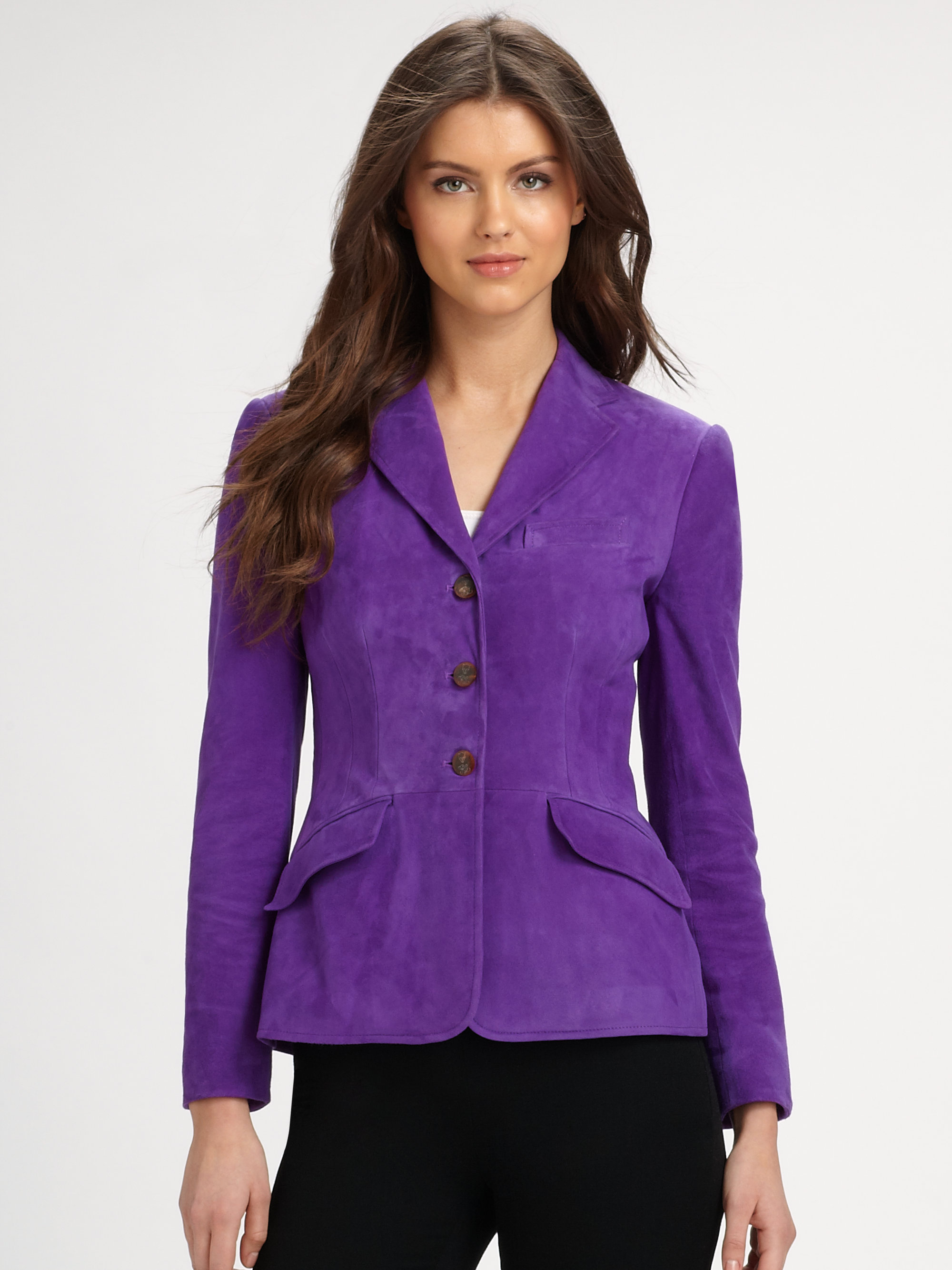 ralph lauren blue label suede riding jacket in purple lyst. Black Bedroom Furniture Sets. Home Design Ideas