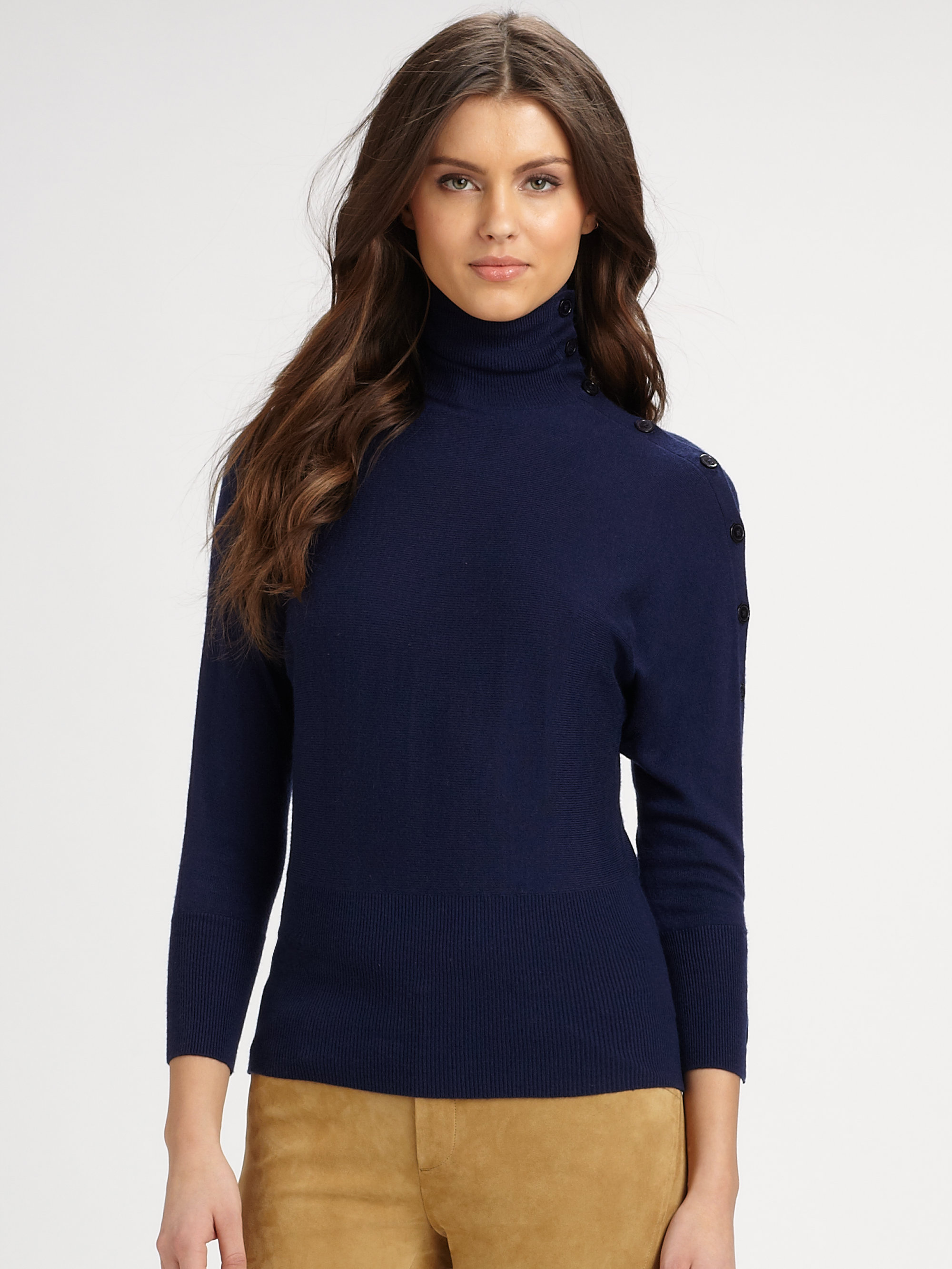 Ralph lauren blue label Turtleneck Sweater in Natural | Lyst