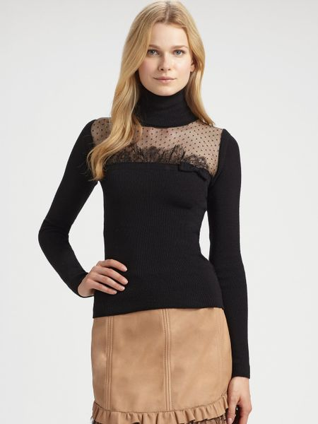 Avec Womens Black Lace Woven Turtleneck Tunic Top Blouse XS BHFO See more like this Ellos Black Lace Turtleneck Tunic Blouse Top Women's Plus Sz .