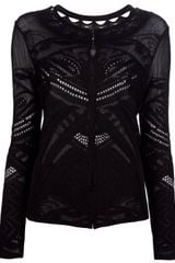 Roberto Cavalli Sheer Embroidered Cardigan