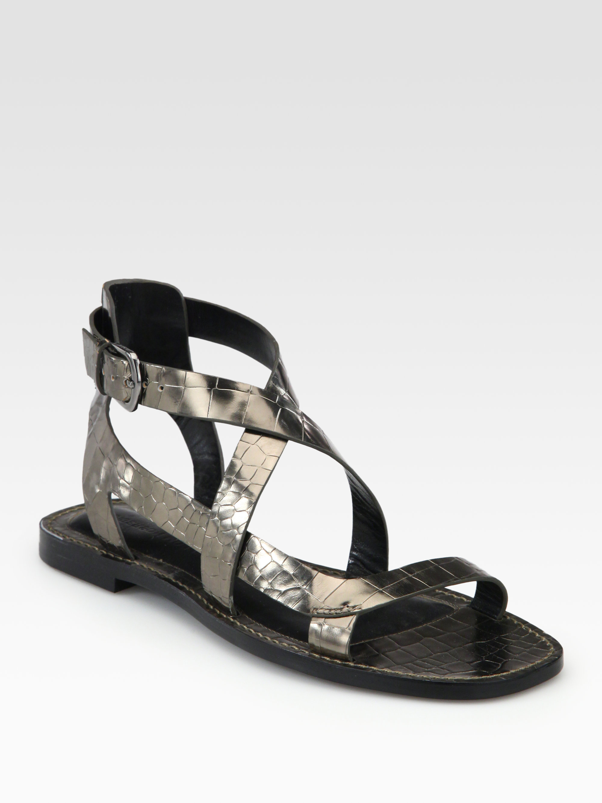 ebay online pictures sale online Sigerson Morrison Embossed Leather Sandals discount professional manchester great sale for sale aFFX1024H
