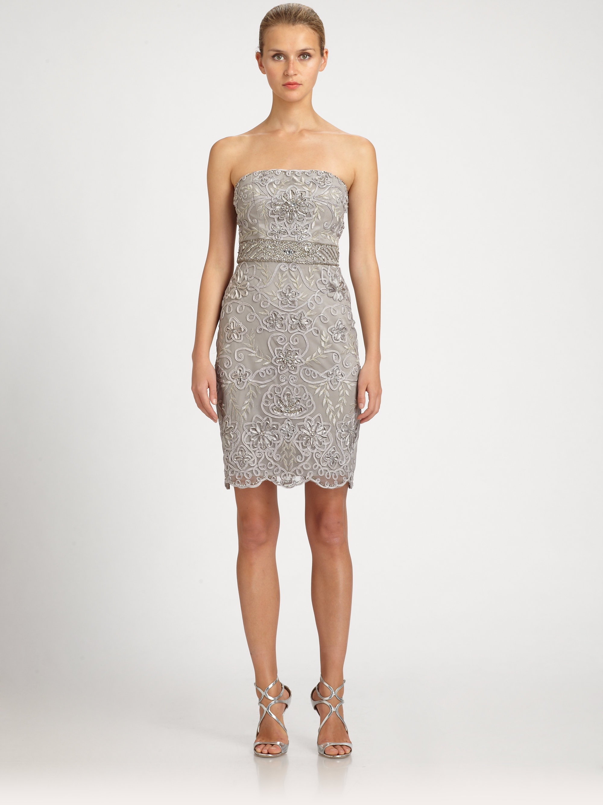 Sue wong Beaded Strapless Dress in Metallic - Lyst