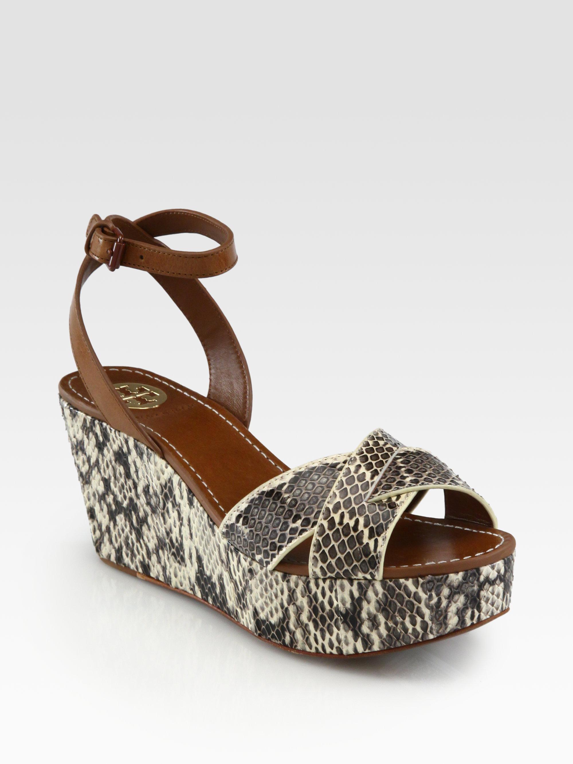 eba3cf103984 Lyst - Tory Burch Cathleen Snakeskin Leather Wedge Sandals in Brown
