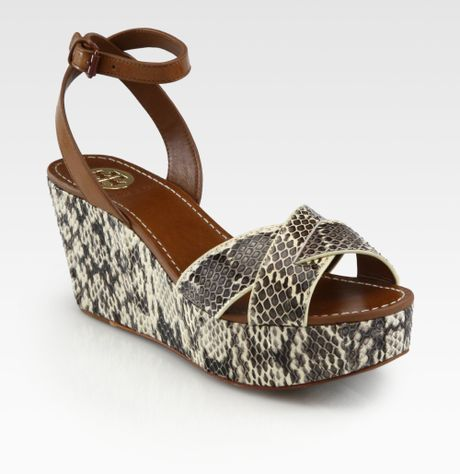 burch cathleen snakeskin leather wedge sandals in