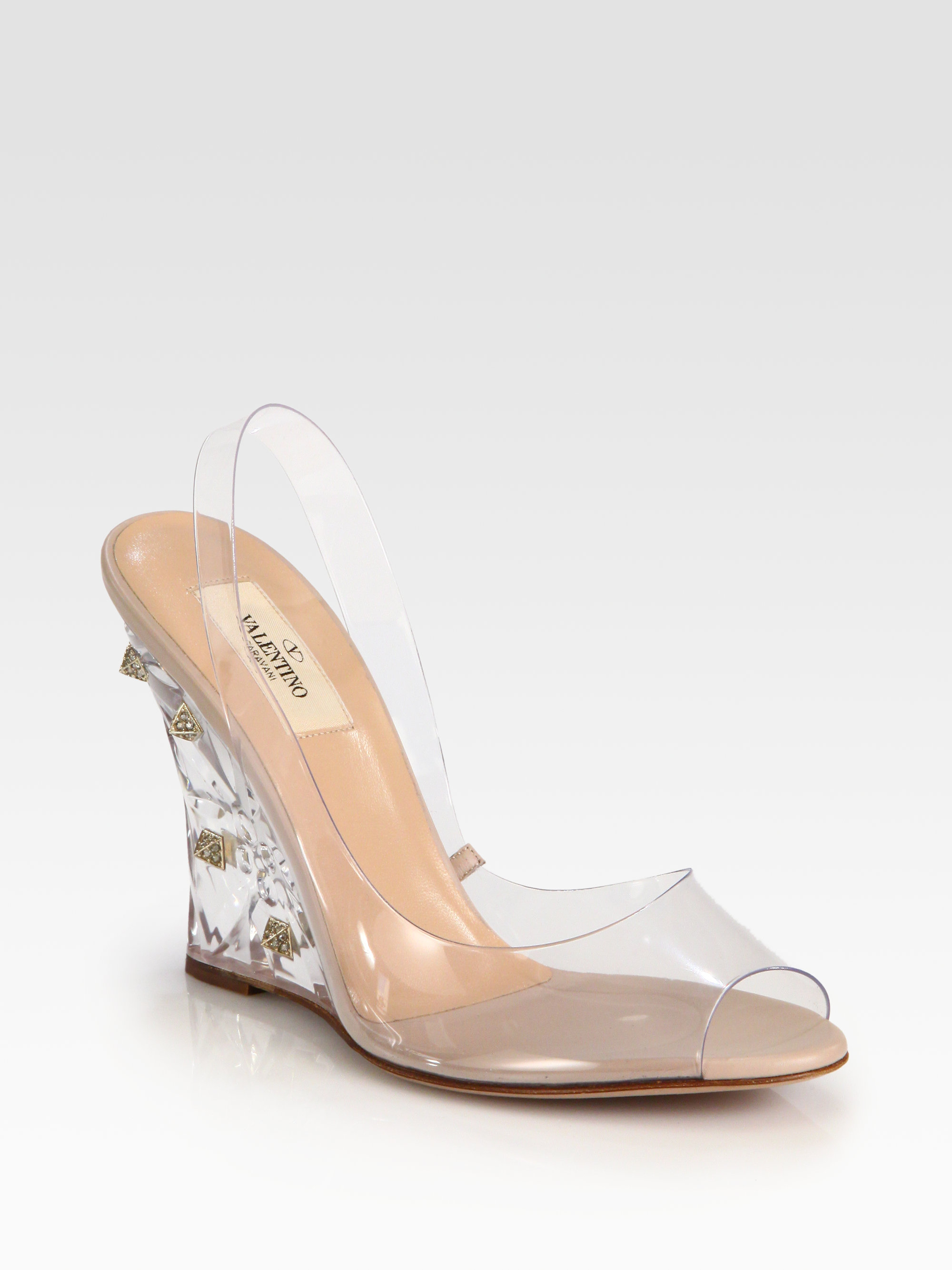 0f51b38c0f0d Lyst - Valentino Naked Rockstud Lucite Wedge Sandals