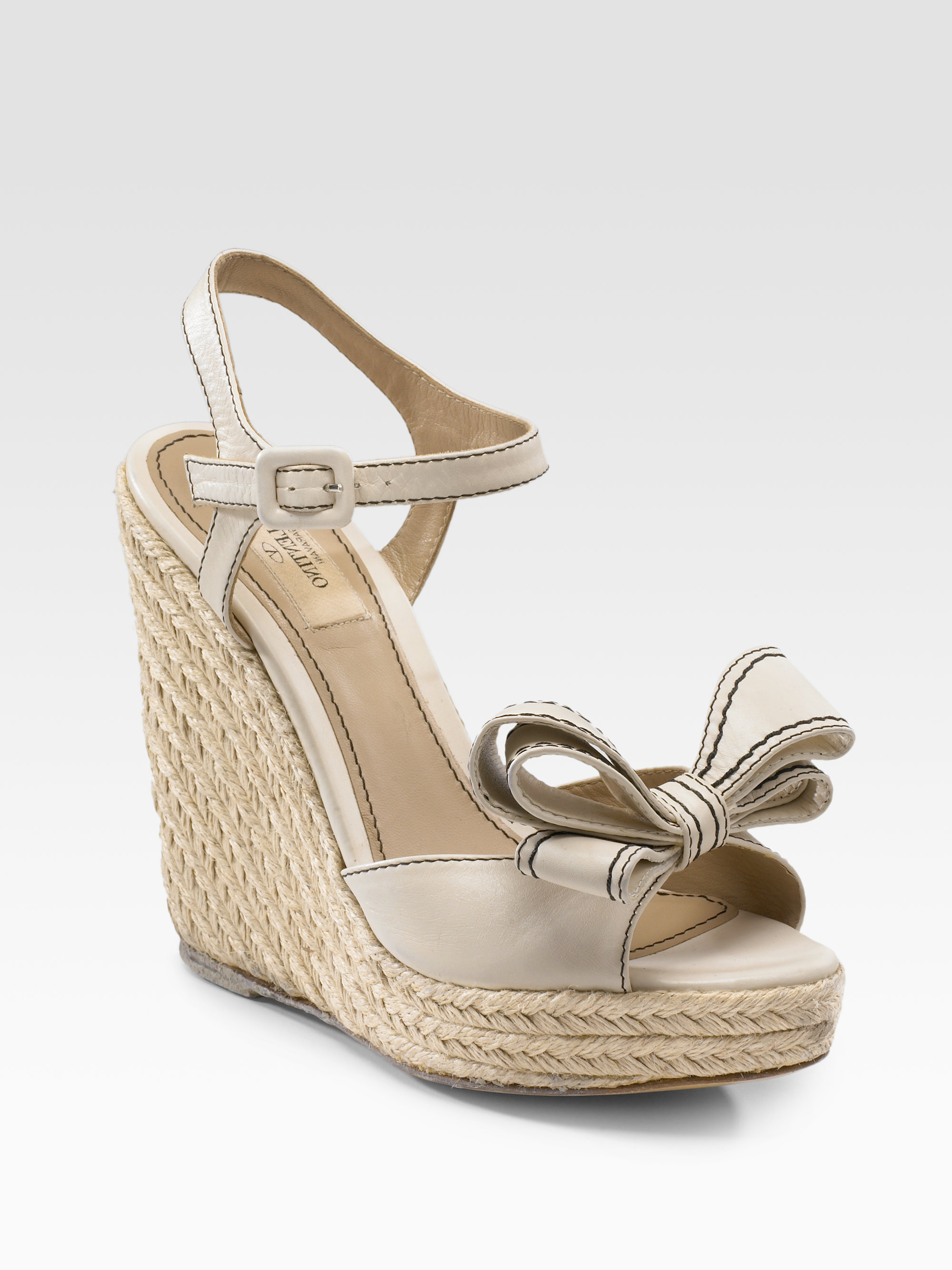 Valentino Couture Bow Espadrille Wedges In Beige Ivory