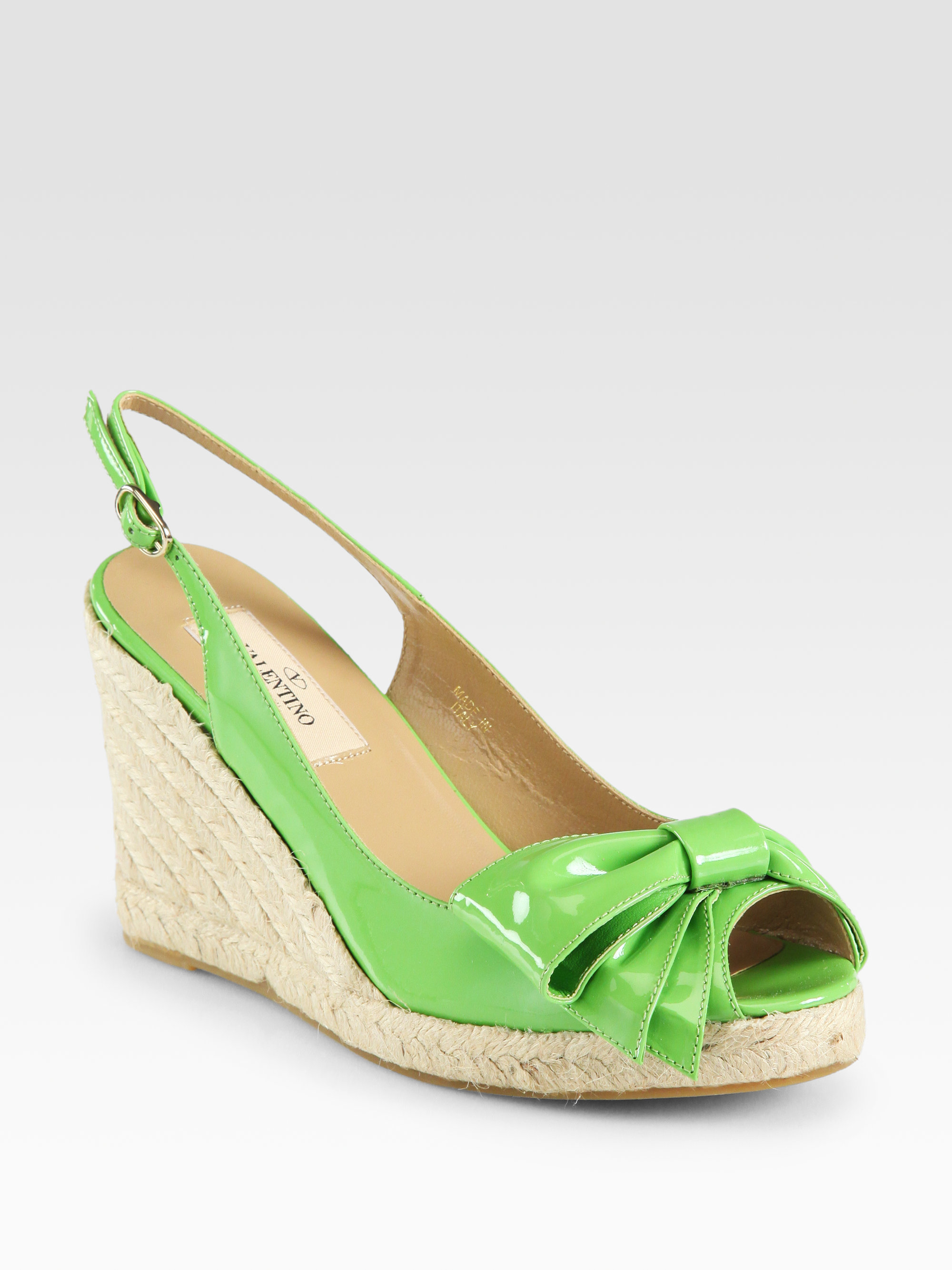 Valentino Mena Patent Leather Espadrille Wedge Sandals In