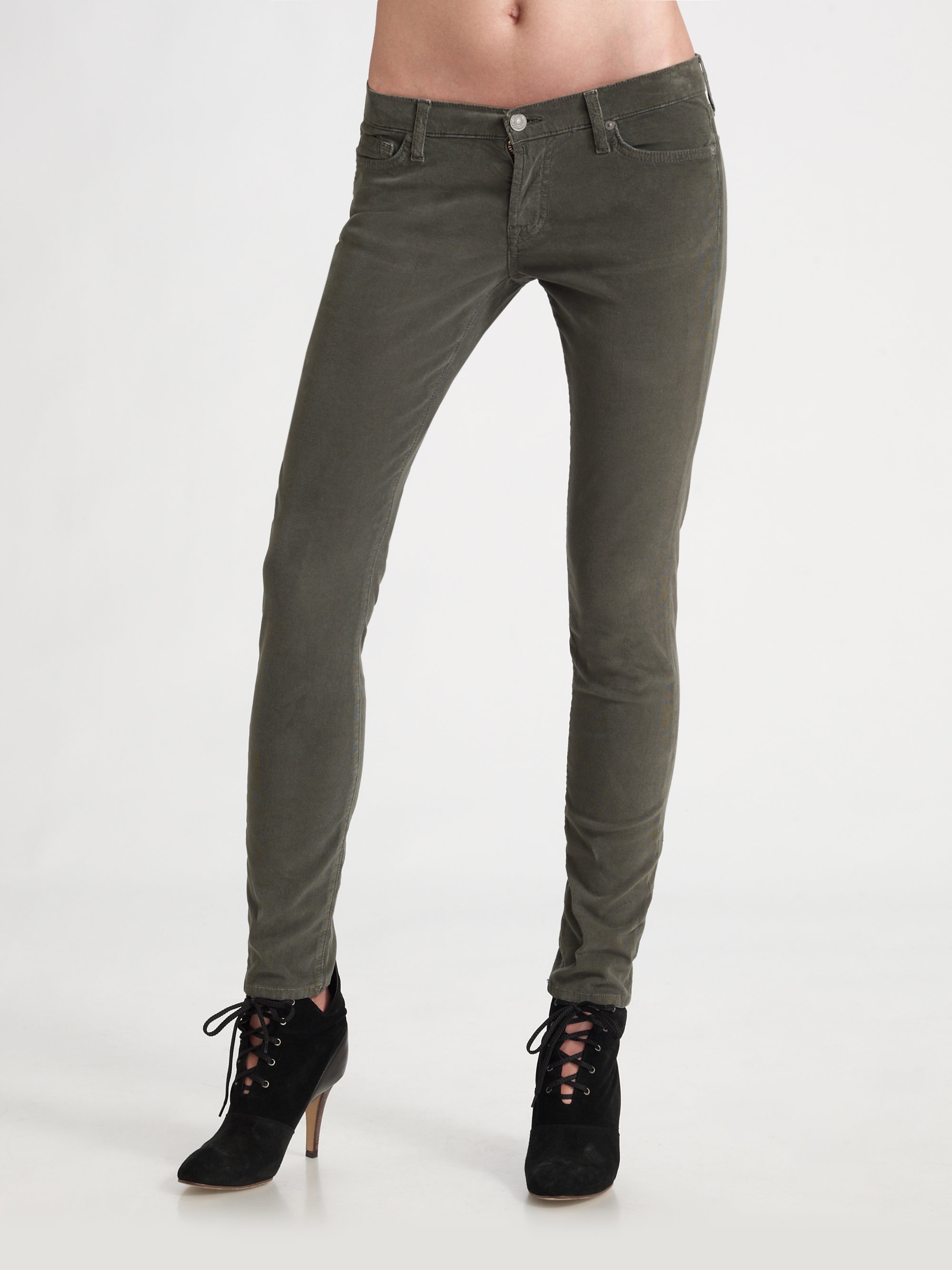 7 for all mankind Skinny Corduroy Pants in Black | Lyst