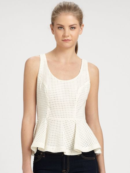 Addison Moore Cotton Eyelet Peplum Top In White Milk Lyst