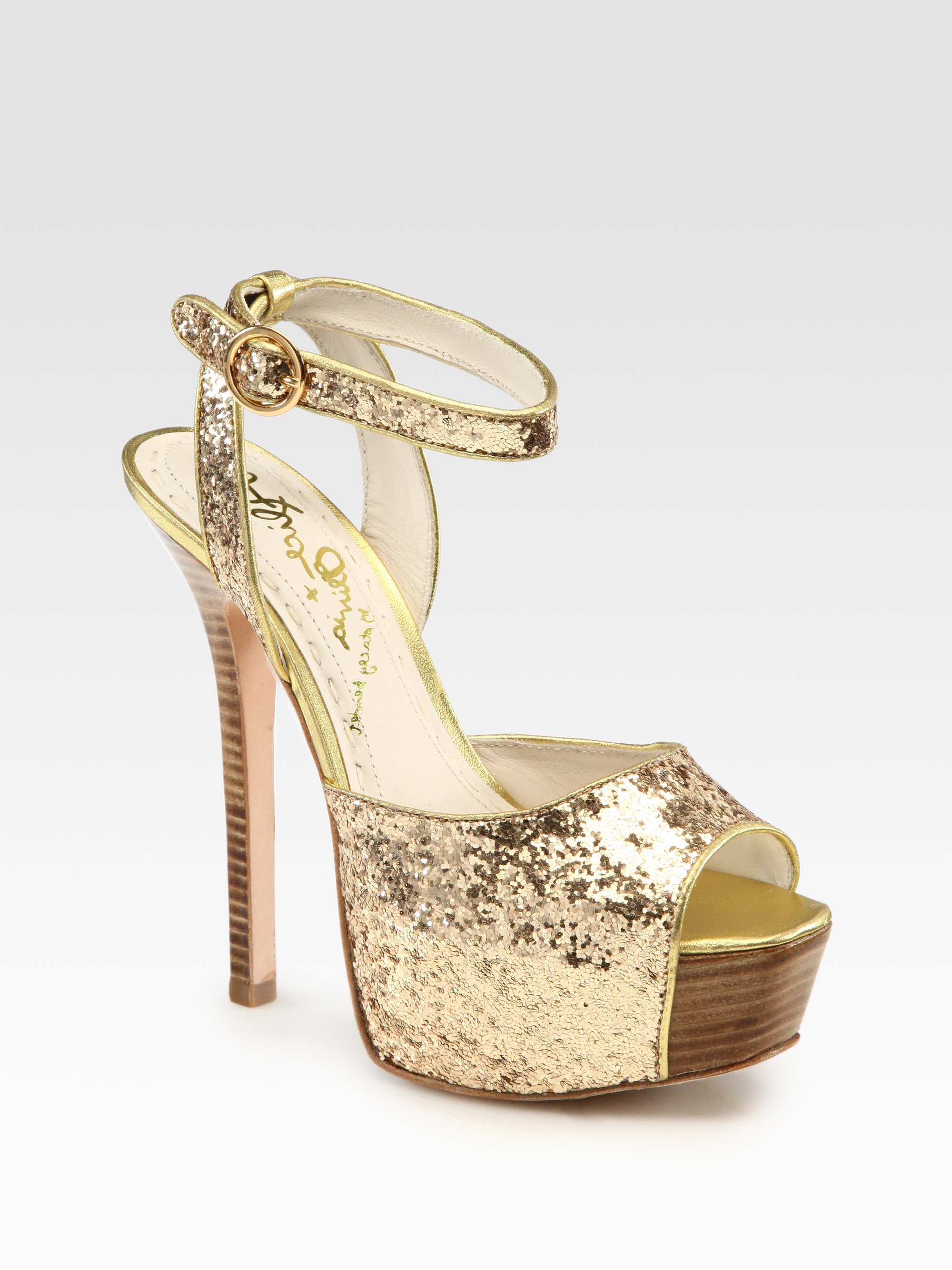 Alice Olivia Lansey Glittercoated Metallic Leather Peep