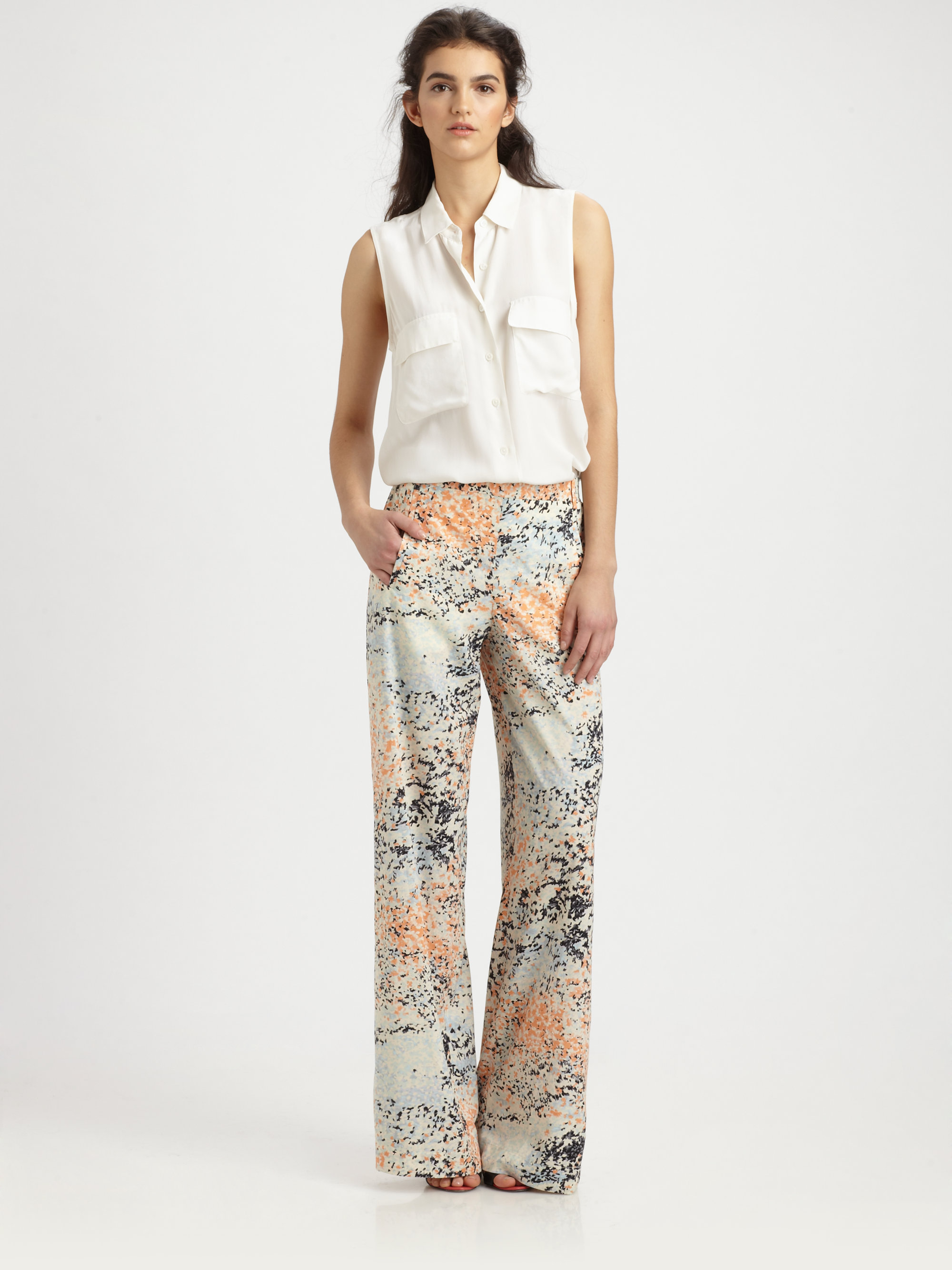 Bcbgmaxazria Floral Print Wideleg Pants | Lyst