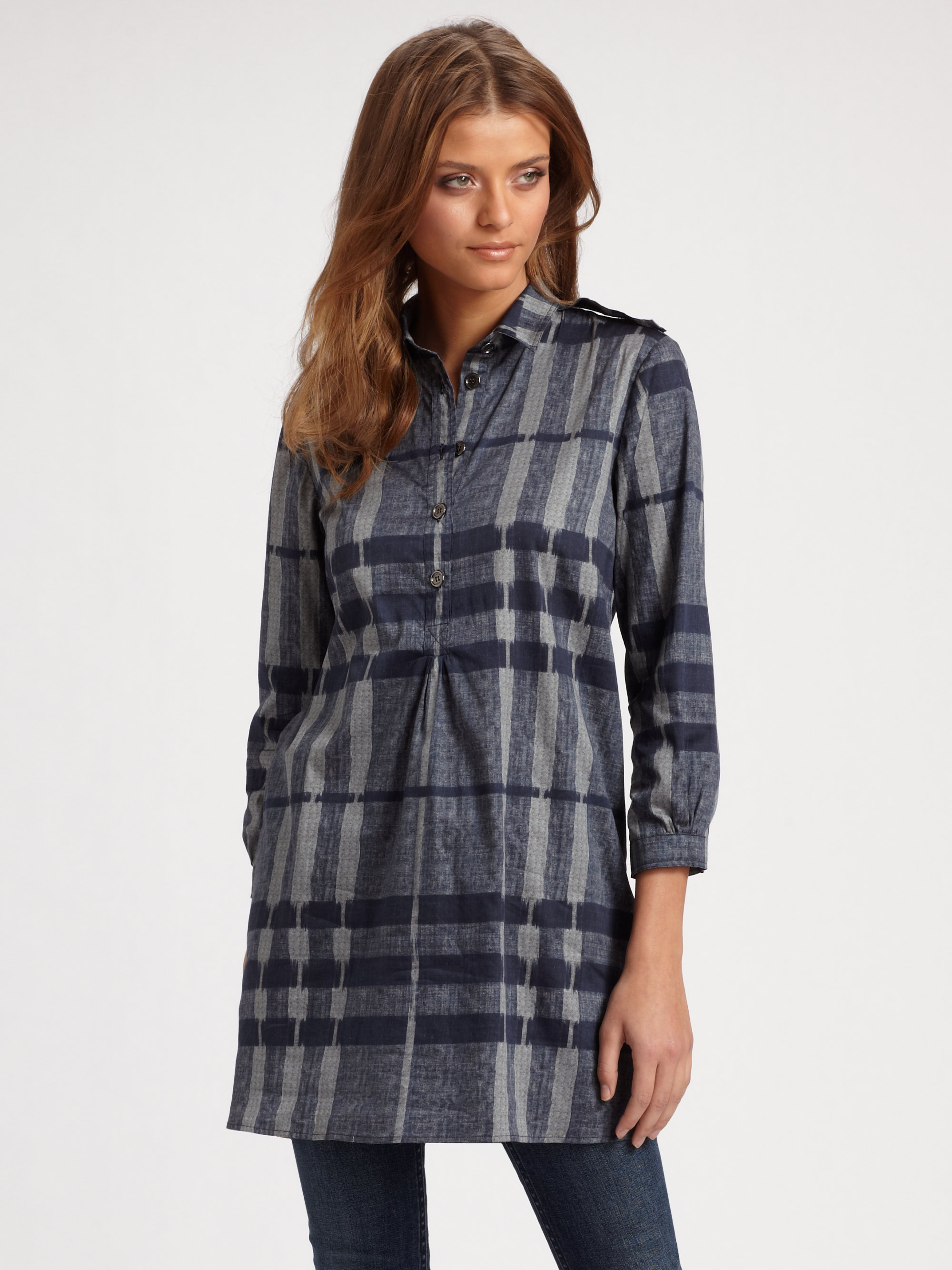 3264a146a62 Burberry Brit Check Tunic Top in Gray - Lyst