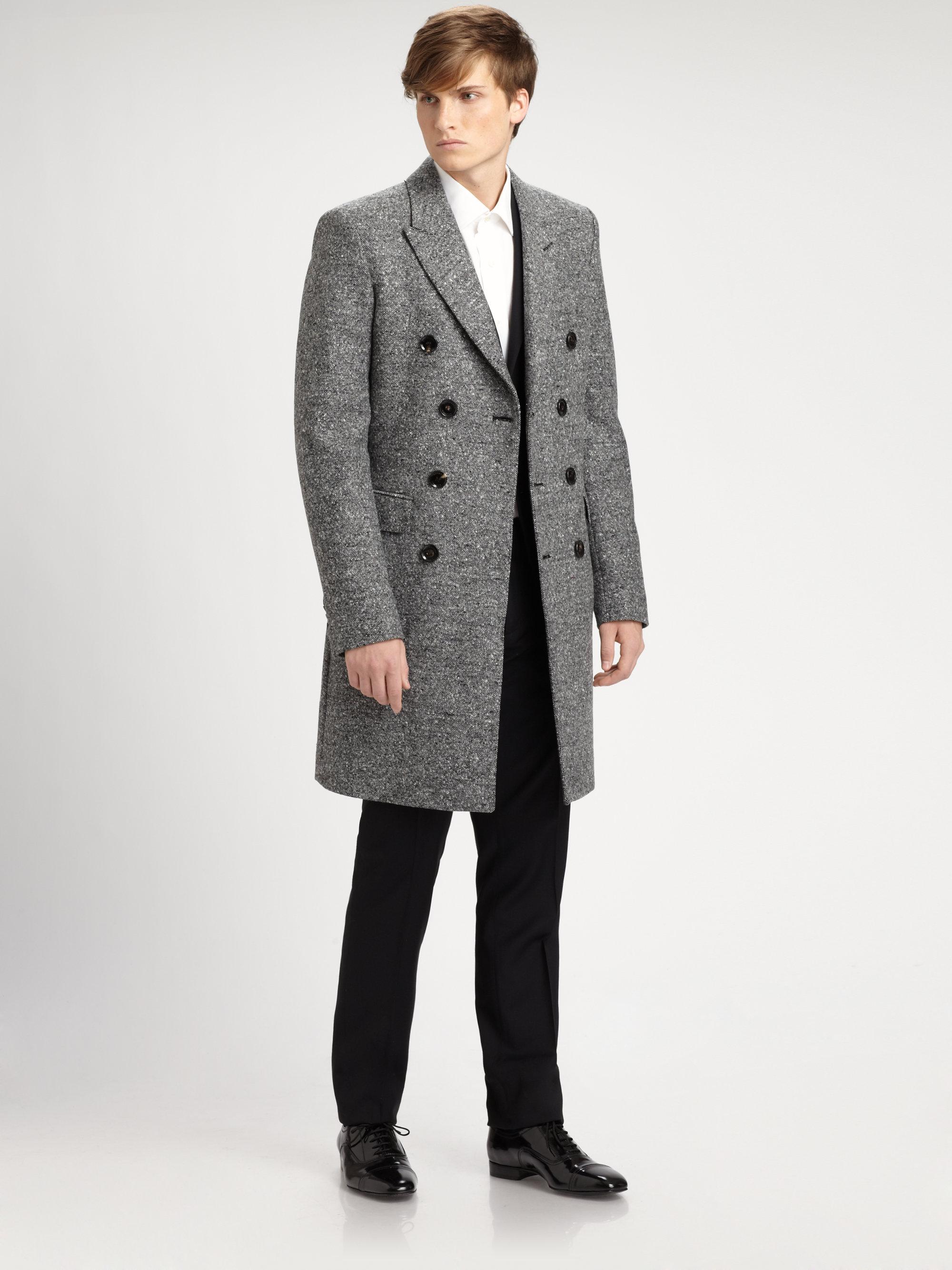 Burberry Grosvenor Wool Tweed Coat in Gray for Men | Lyst