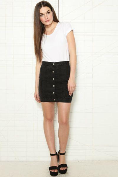 cheap monday button front denim skirt in black lyst