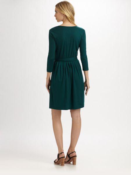 Dkny Jersey Wrap Dress In Green Bottle Green Lyst